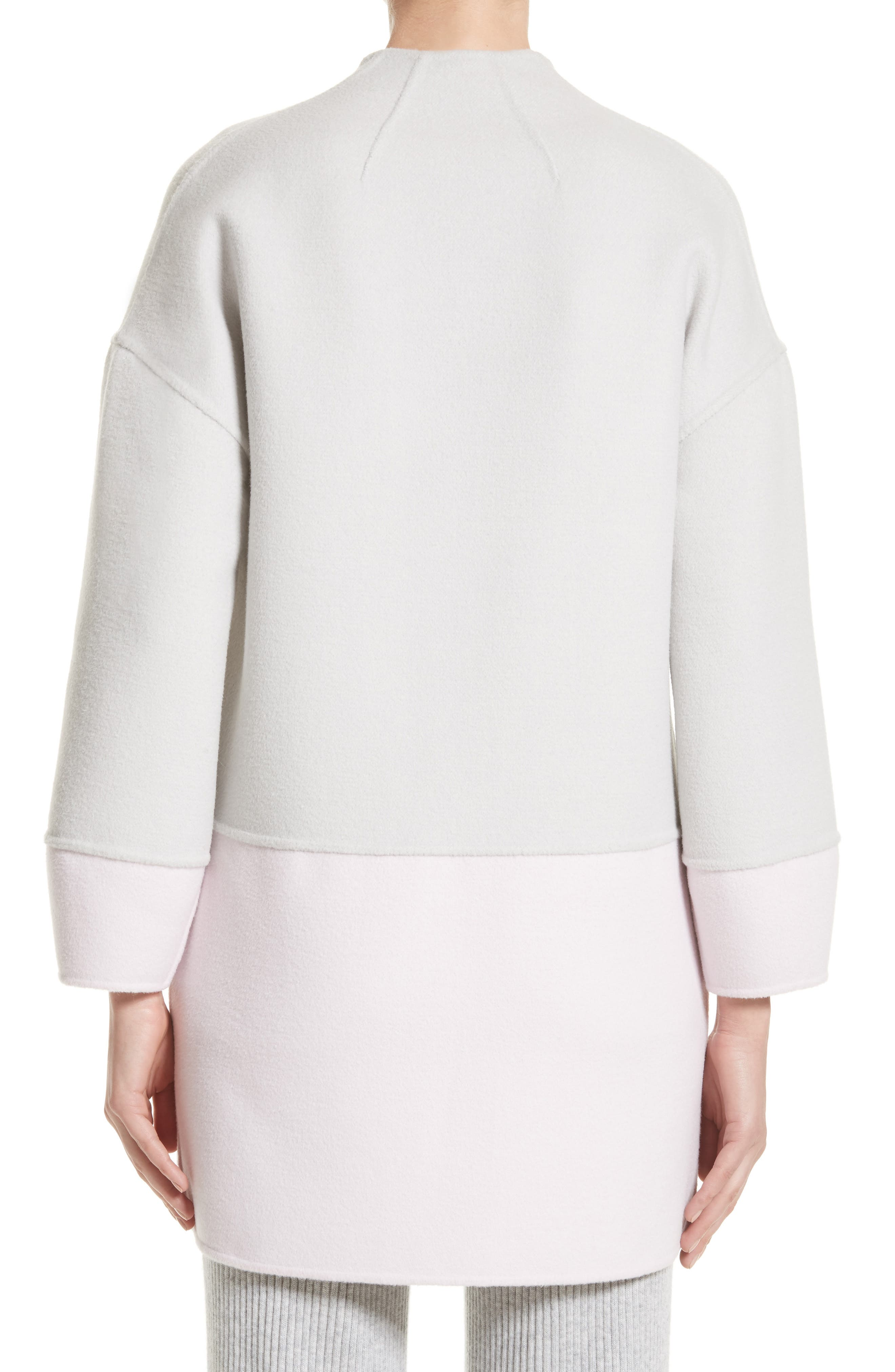 Reversible Wool Blend Cocoon Coat,                             Alternate thumbnail 2, color,                             Petal/ Light Grey Melange