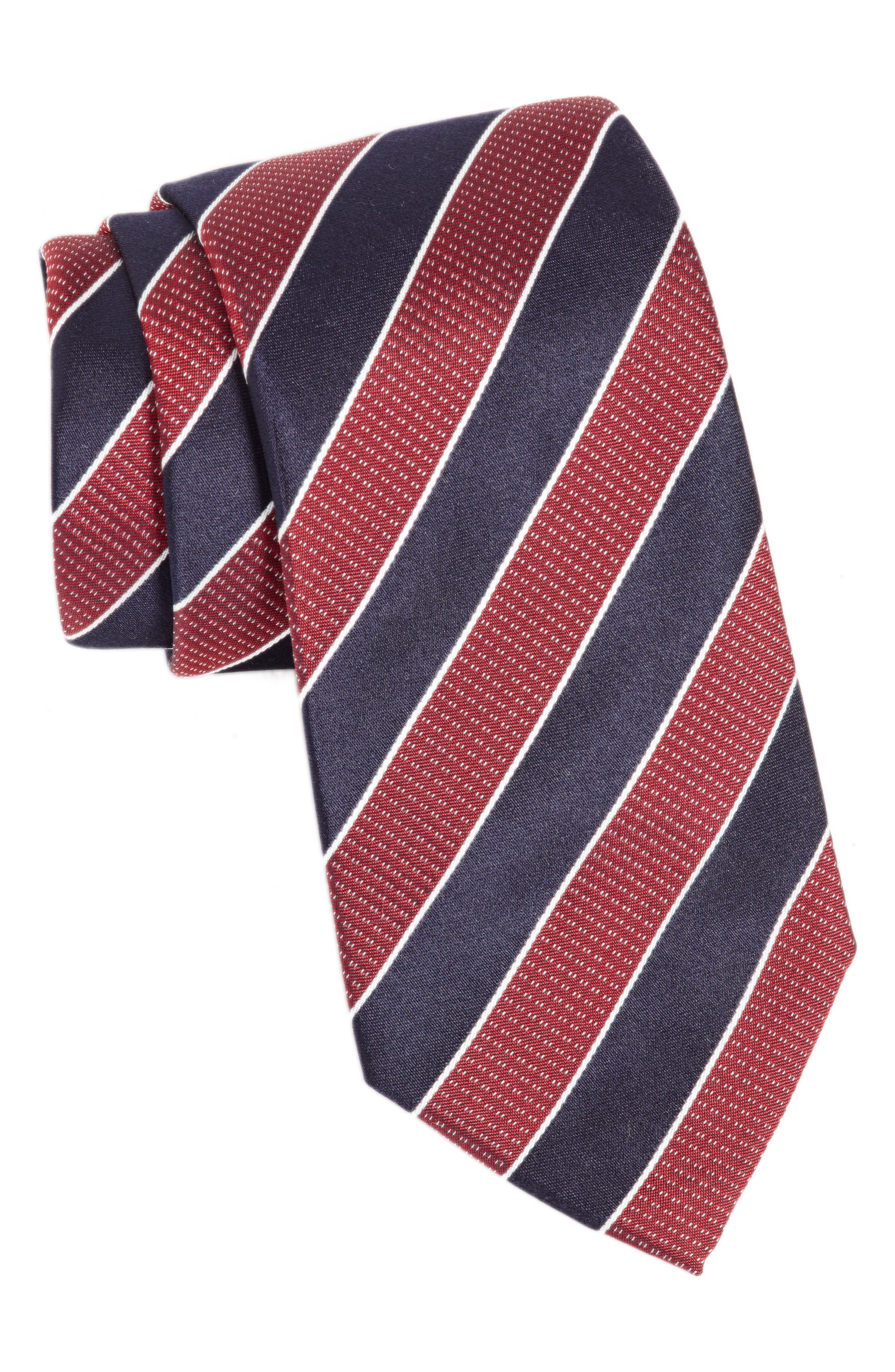 Stripe Silk Tie,                             Main thumbnail 1, color,                             Medium Red