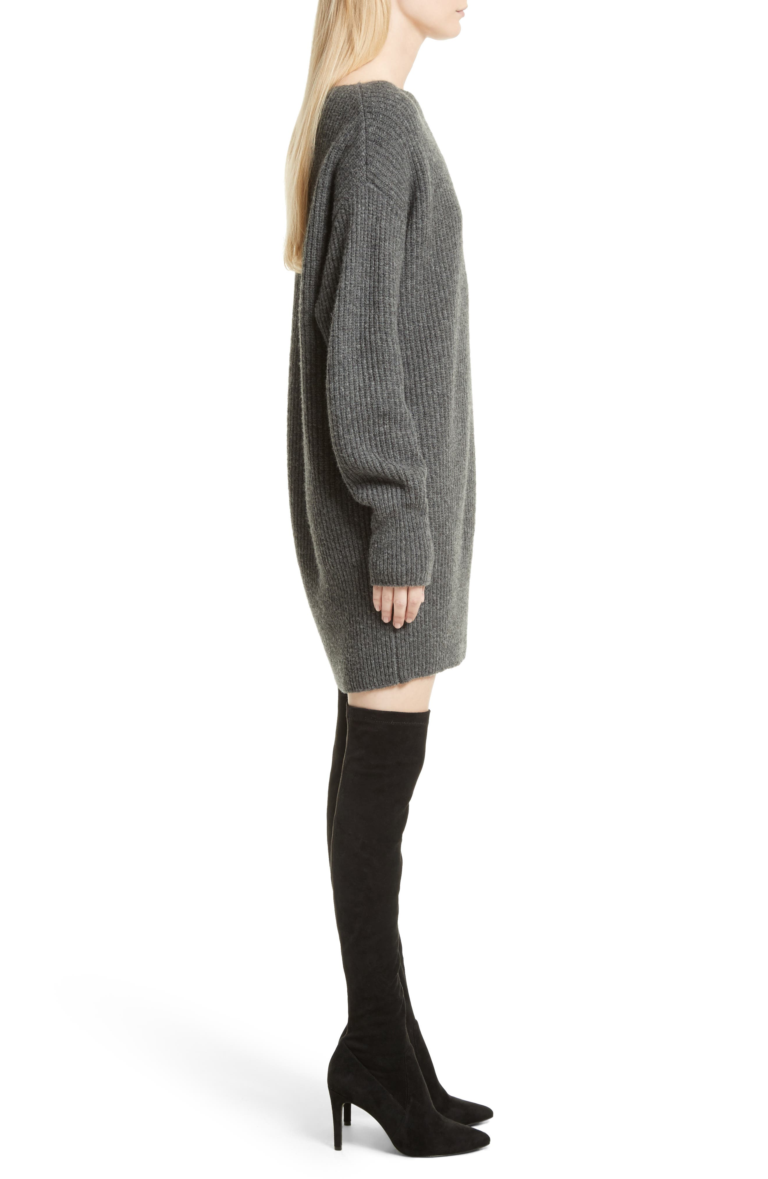 Nimbus Wool Ribbed Cocoon Dress,                             Alternate thumbnail 3, color,                             Light Charcoal