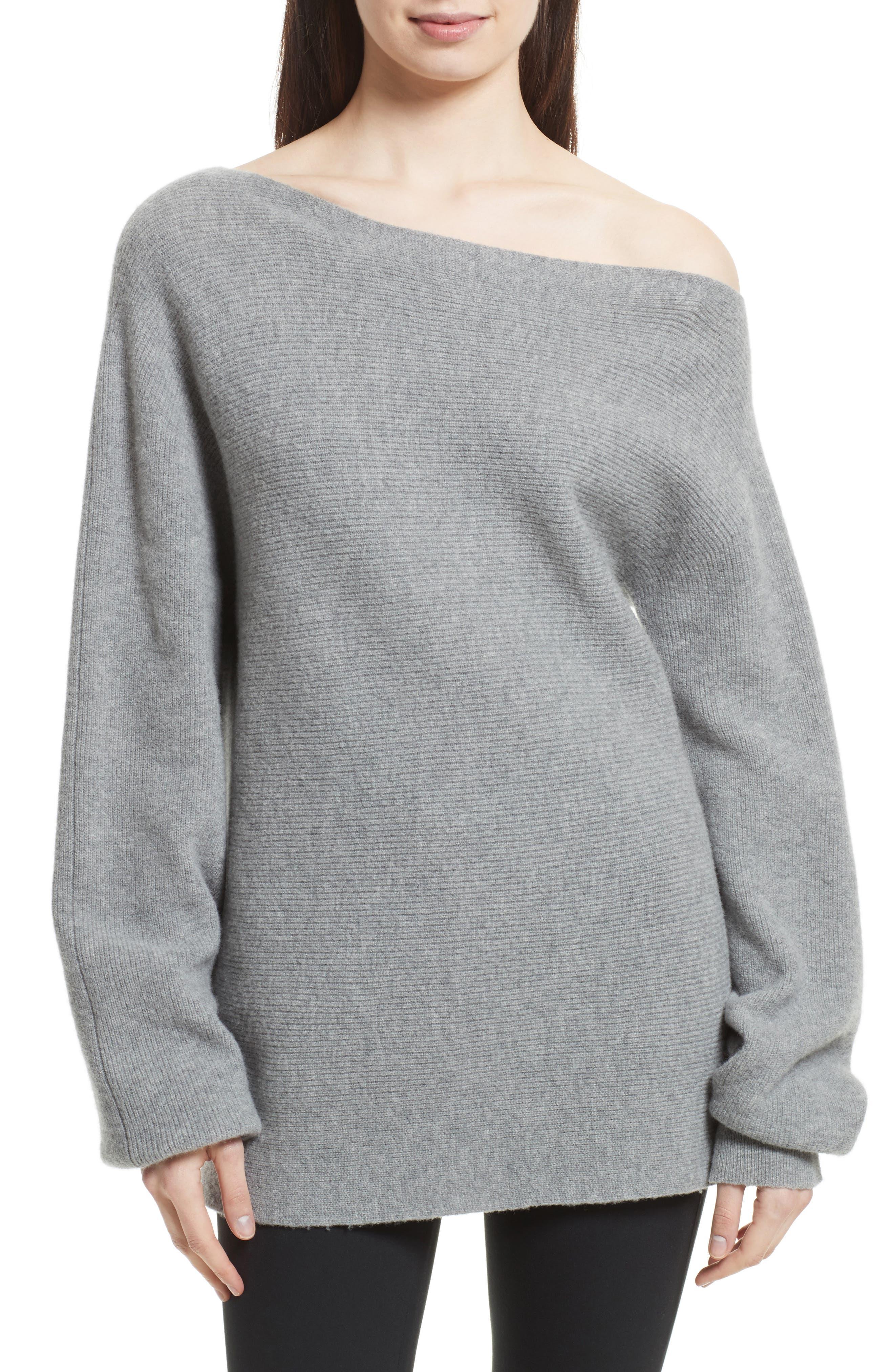 One-Shoulder Merino Wool Sweater,                         Main,                         color, Light Heather Grey