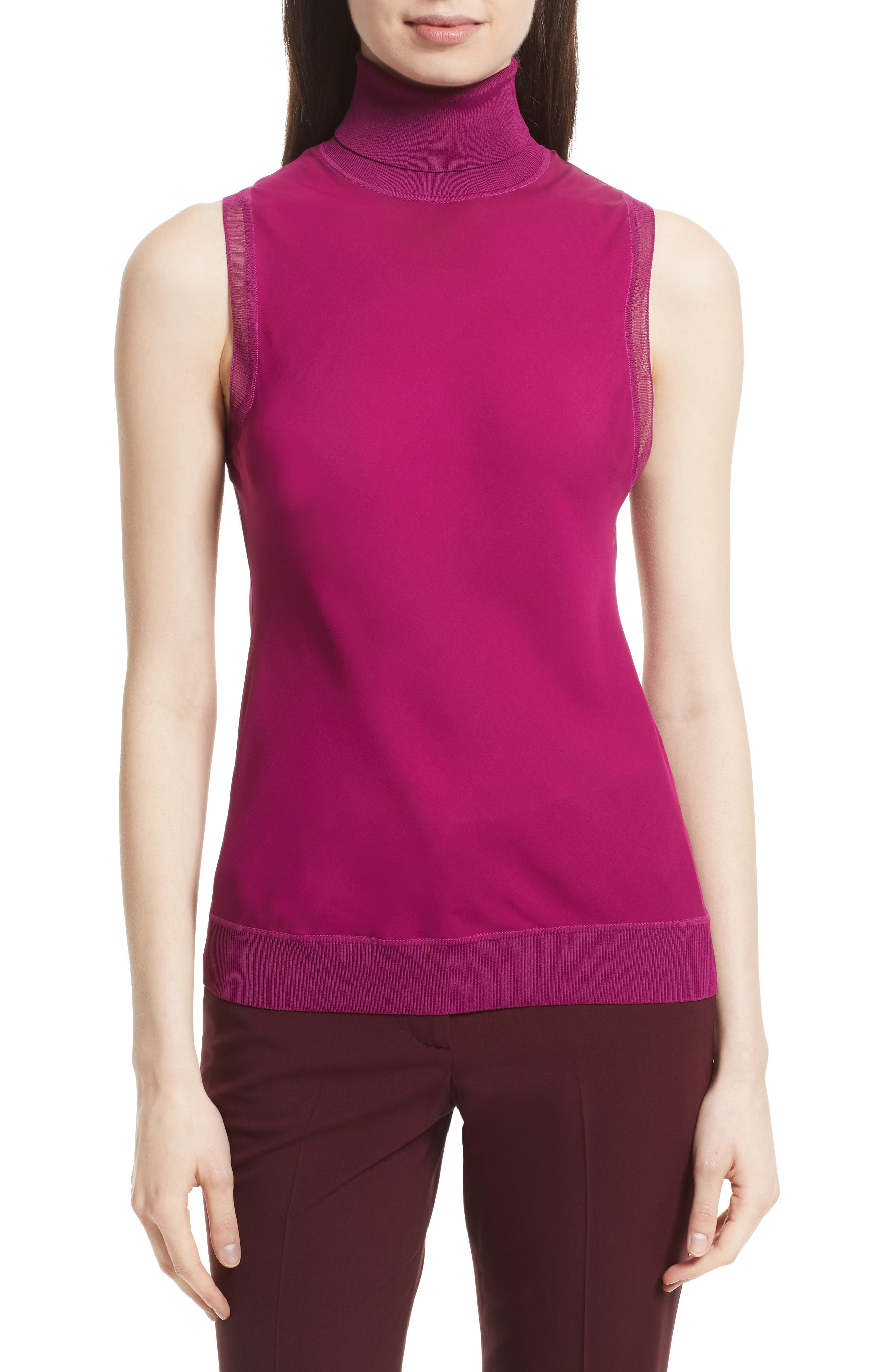 Turtleneck Bias Silk Top,                         Main,                         color, Electric Pink