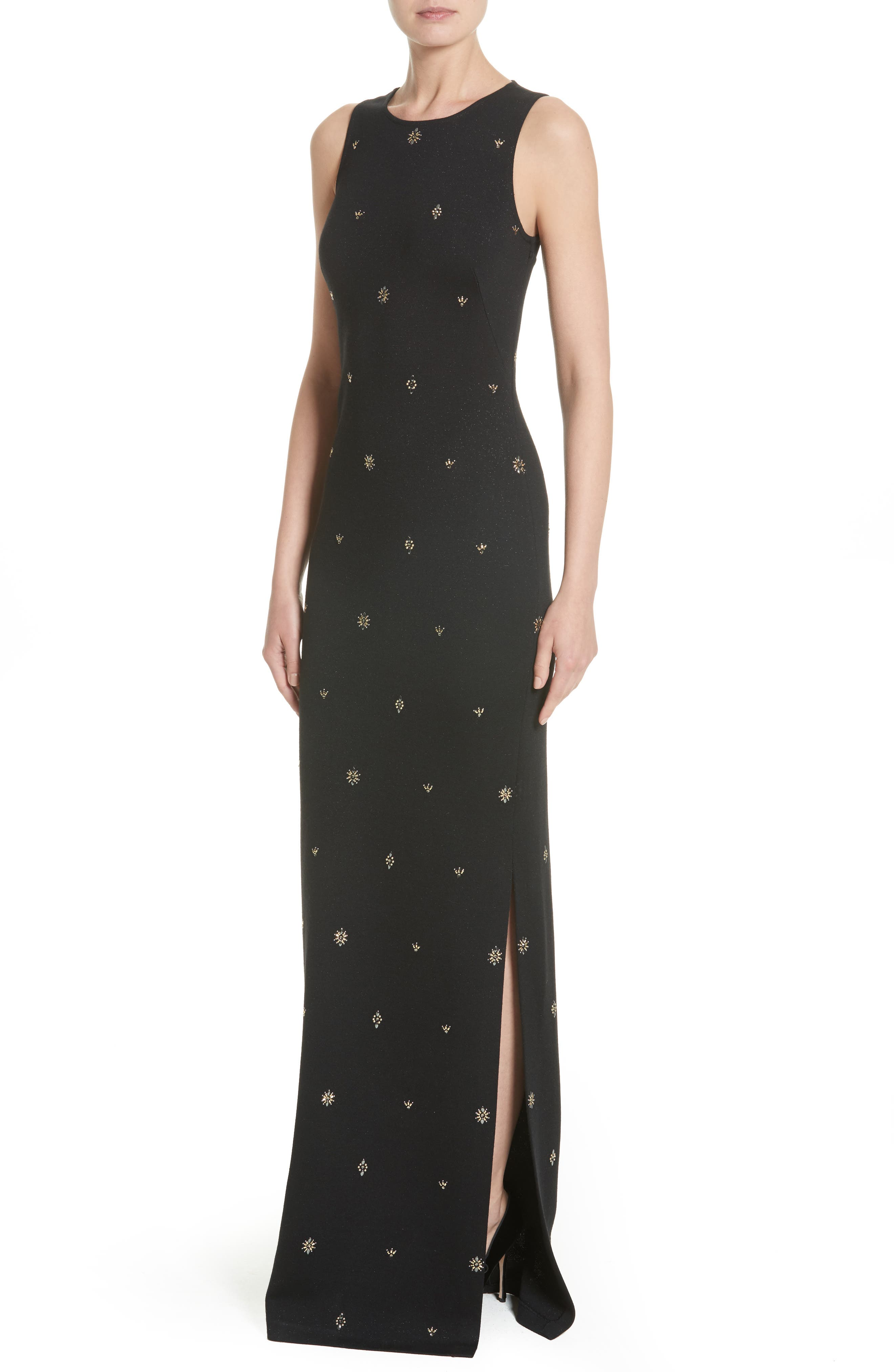 Back Keyhole Shimmer Milano Knit Gown,                             Alternate thumbnail 6, color,                             Caviar