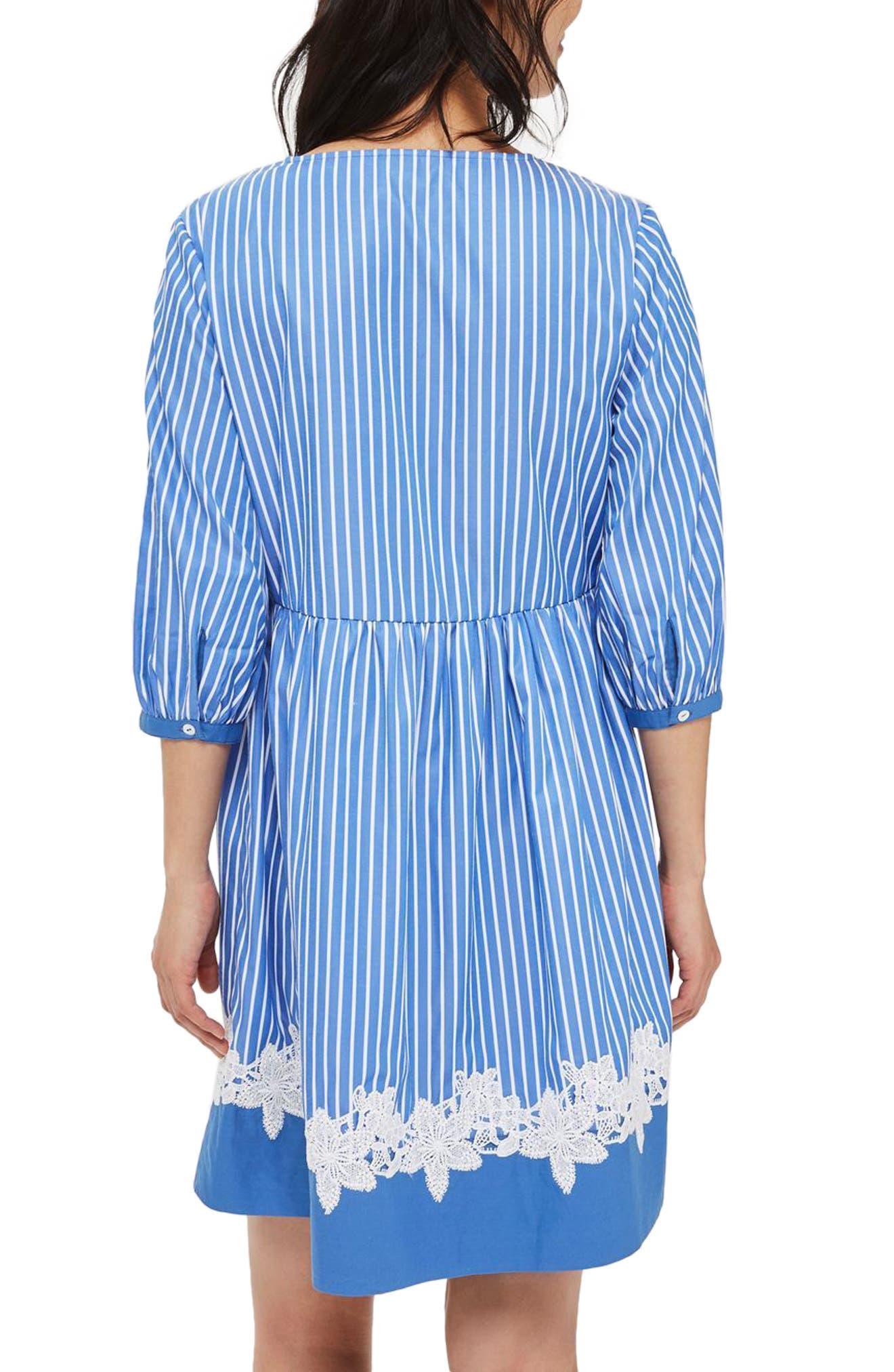 Alternate Image 3  - Topshop Embroidered Stripe Smock Dress