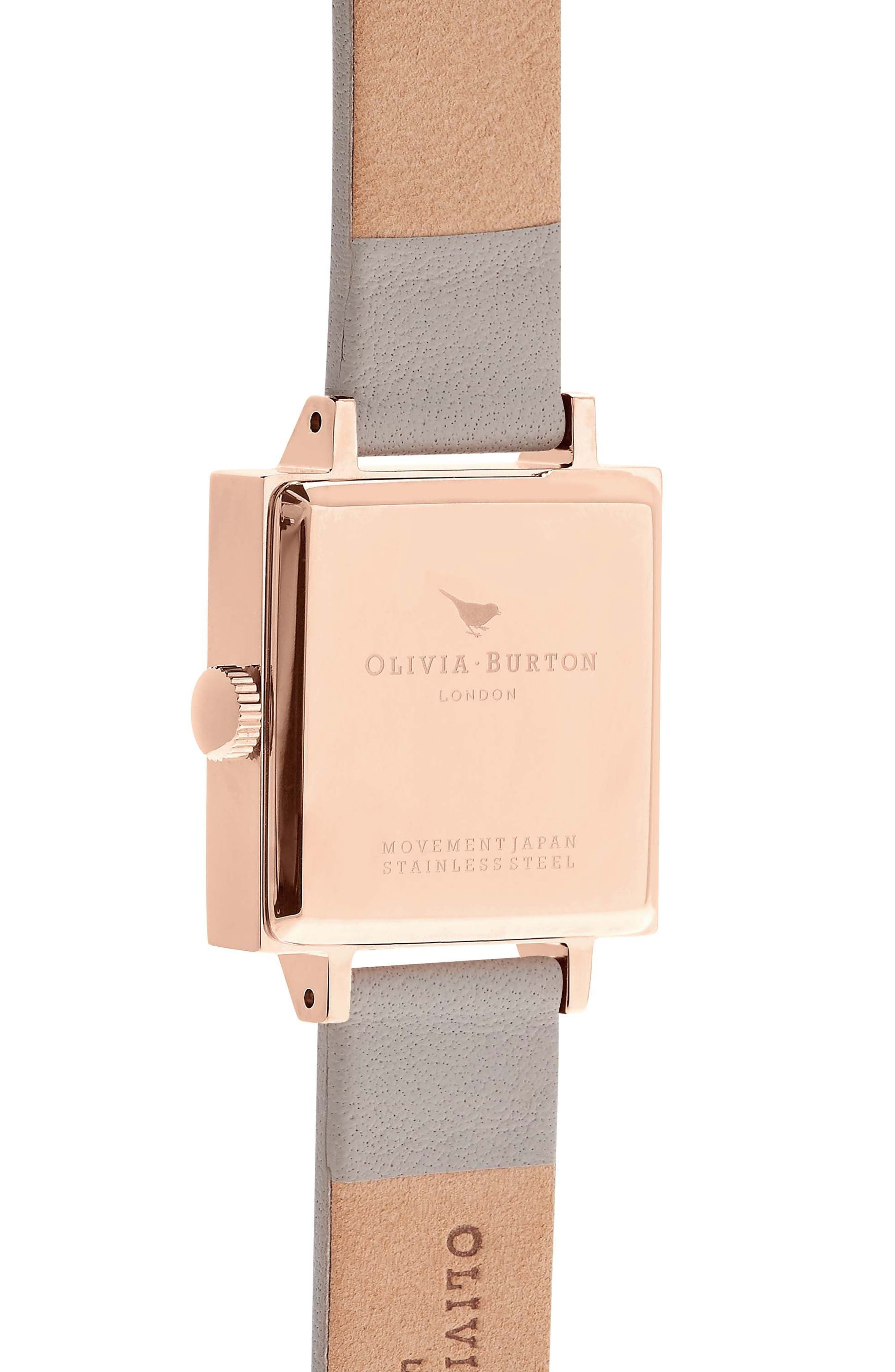 Alternate Image 2  - Olivia Burton Square Leather Strap Watch, 23mm