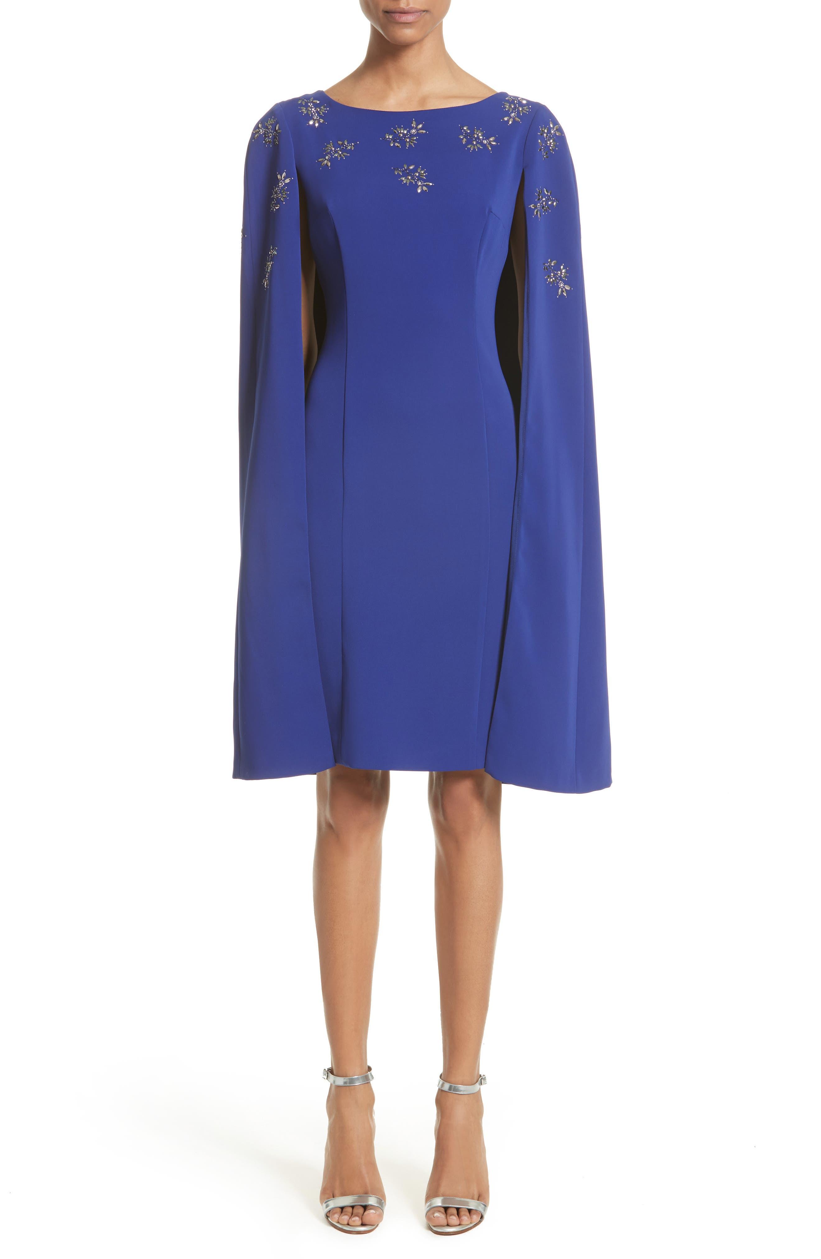 Embellished Classic Stretch Cady Cape Dress,                         Main,                         color, Indigo