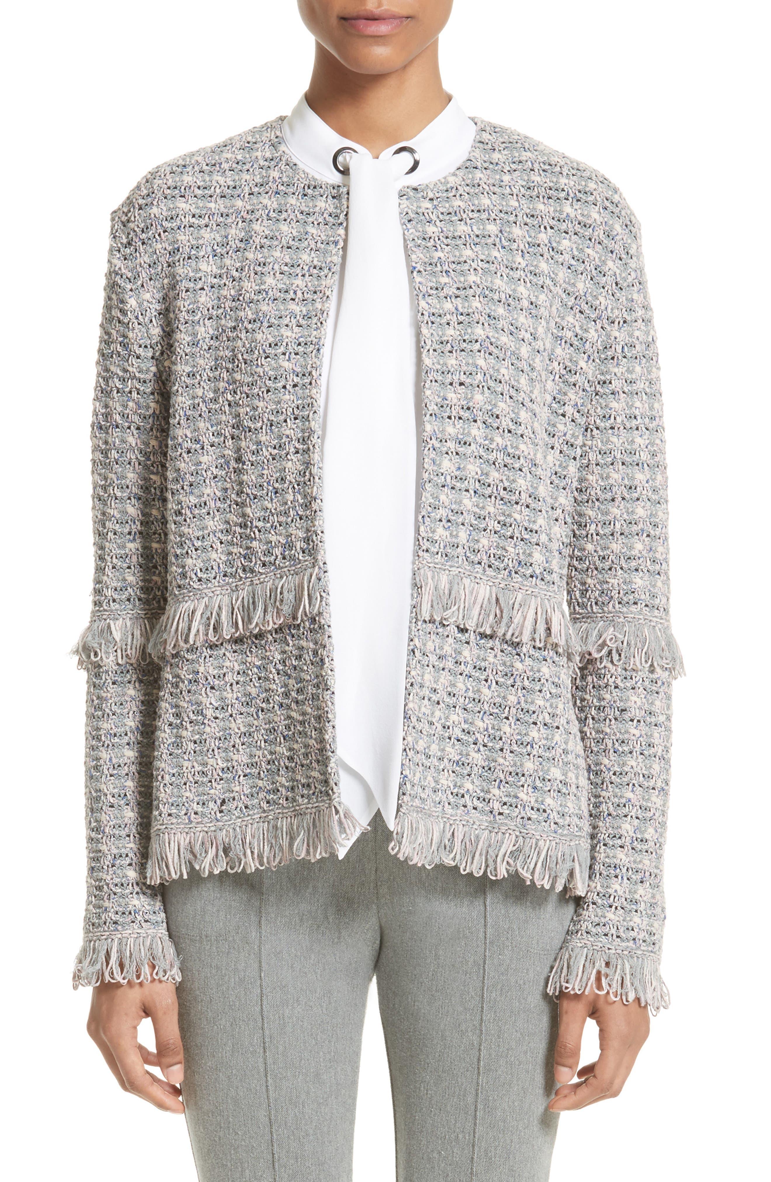 Textural Powder Tweed Jacket,                         Main,                         color, Petal Multi