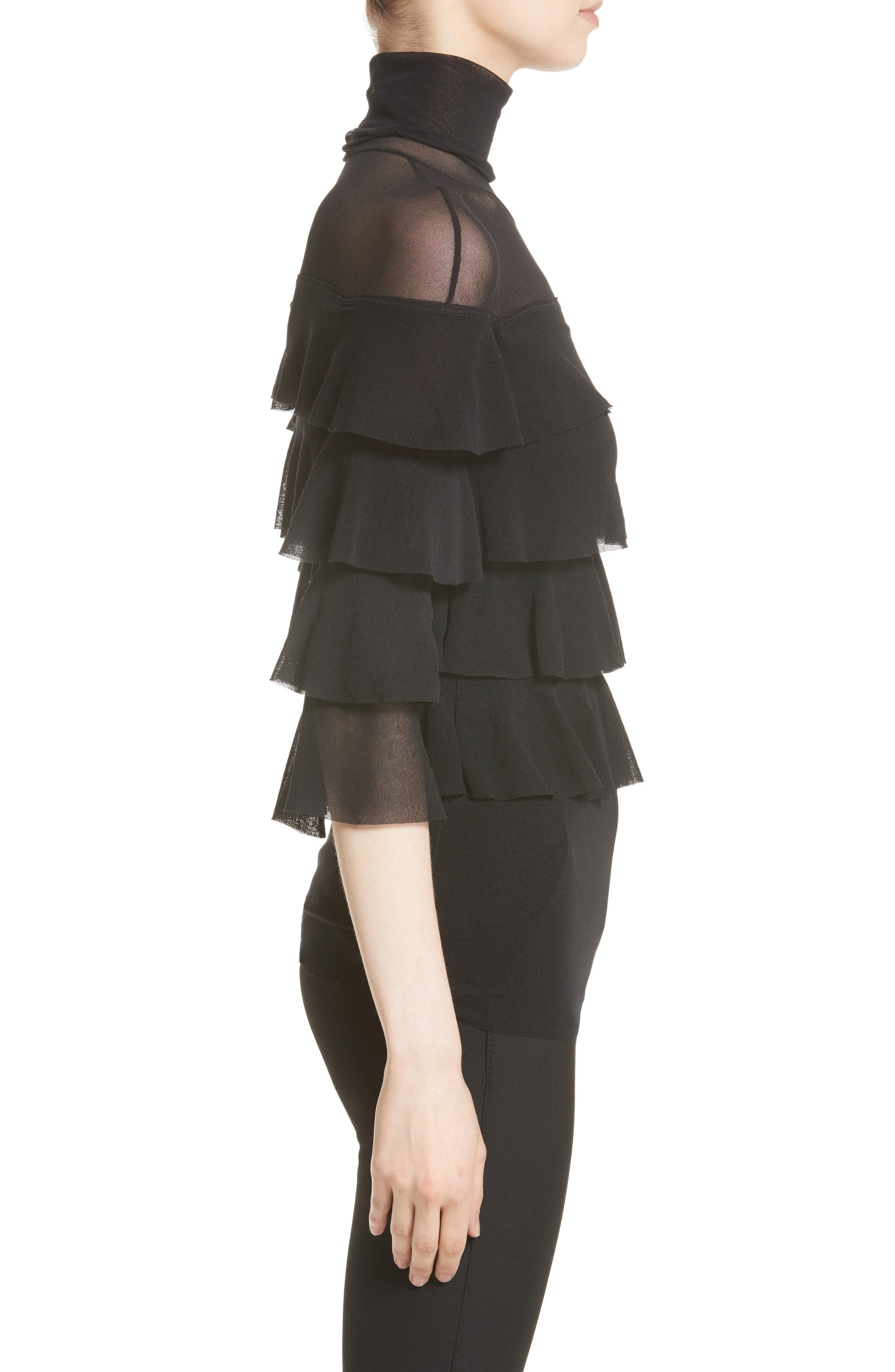 Ruffle Tiered Tulle Top,                             Alternate thumbnail 5, color,                             Nero