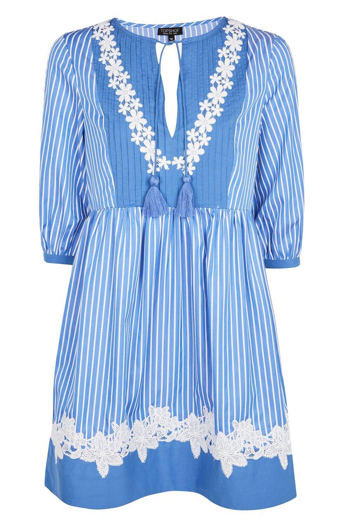 Alternate Image 4  - Topshop Embroidered Stripe Smock Dress