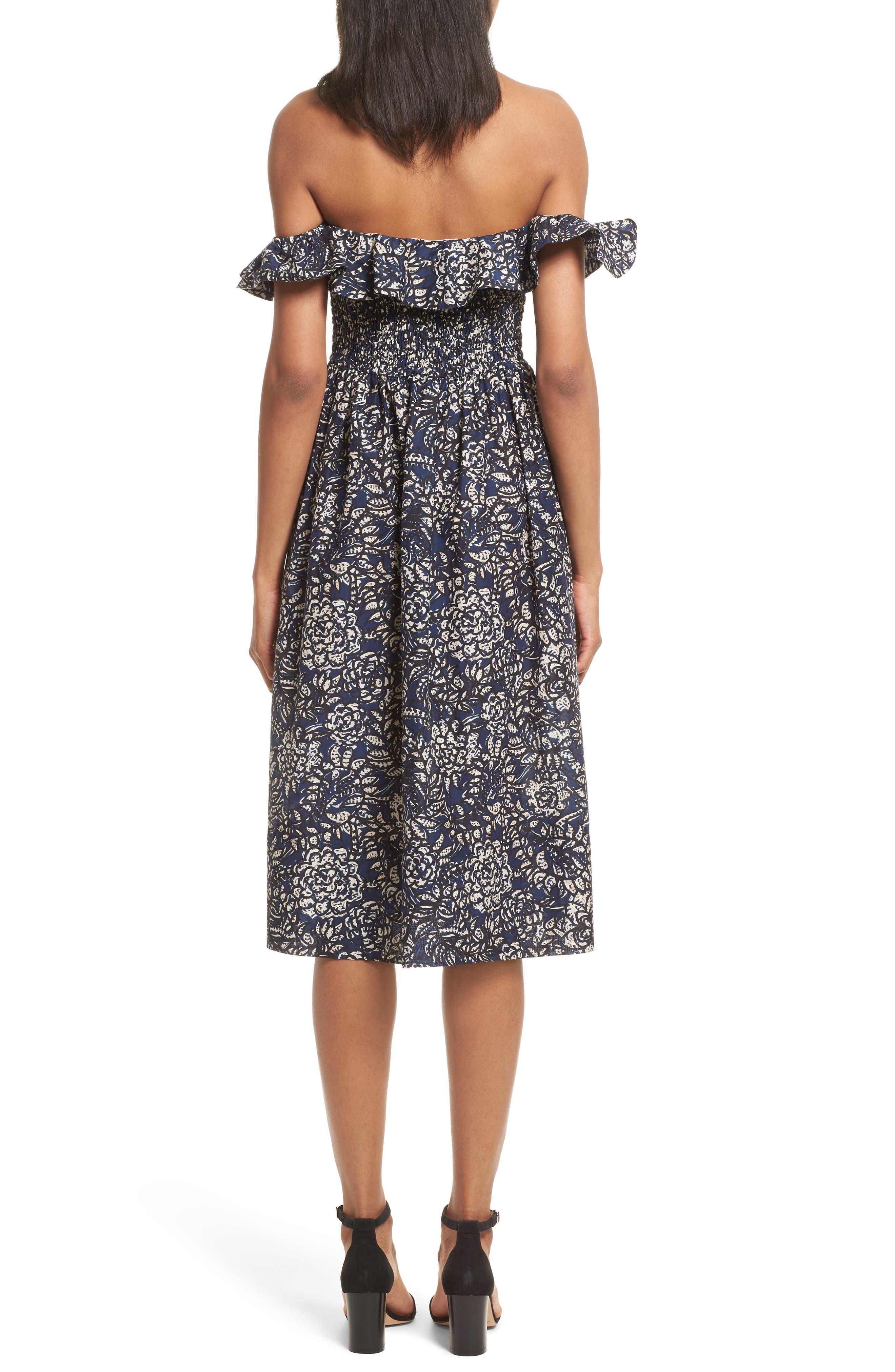 Novella Maria Off the Shoulder Dress,                             Alternate thumbnail 2, color,                             Indigo Batik Floral