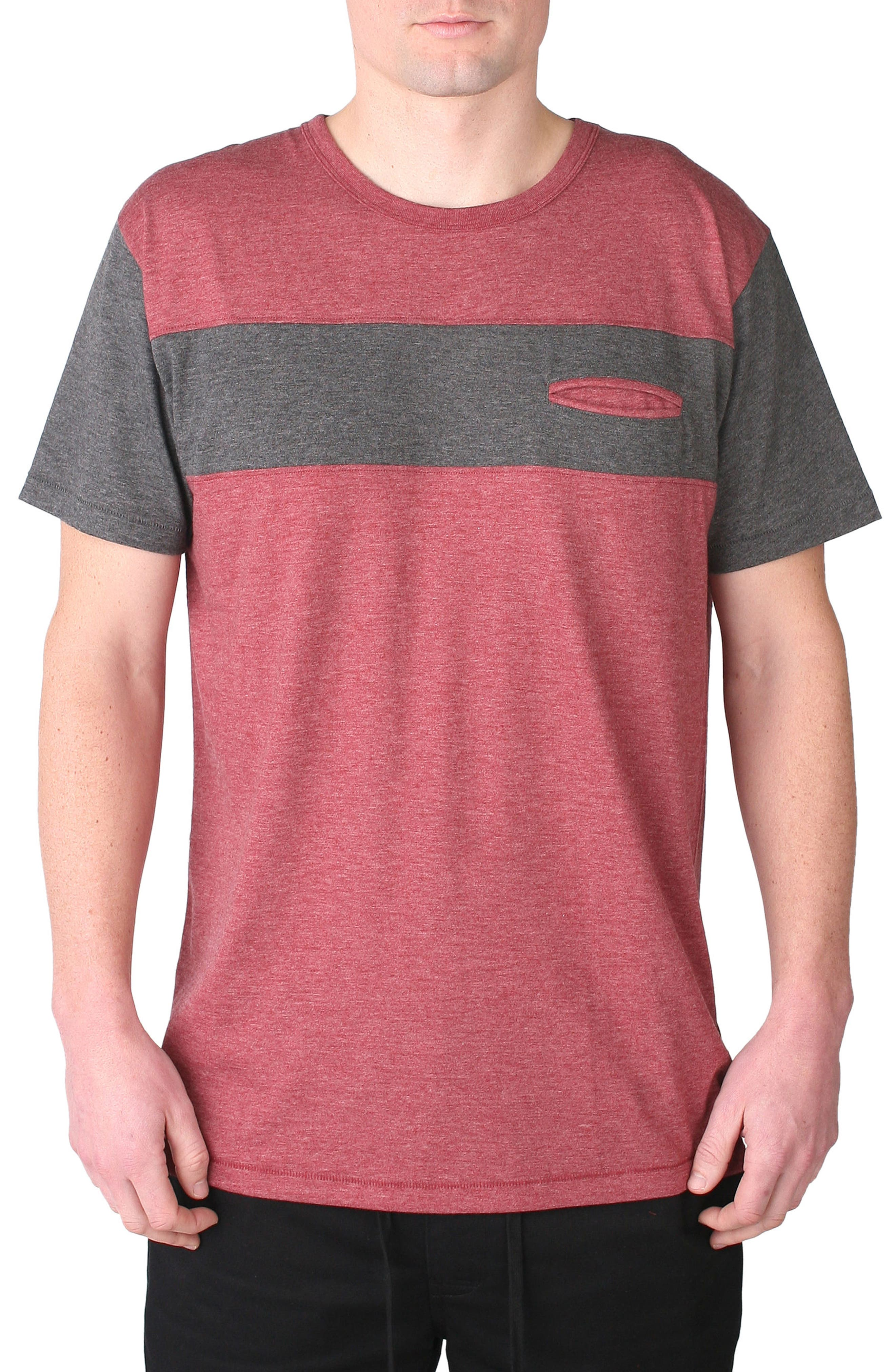 Nelson Pocket T-Shirt,                         Main,                         color, Oxblood/ Charcoal