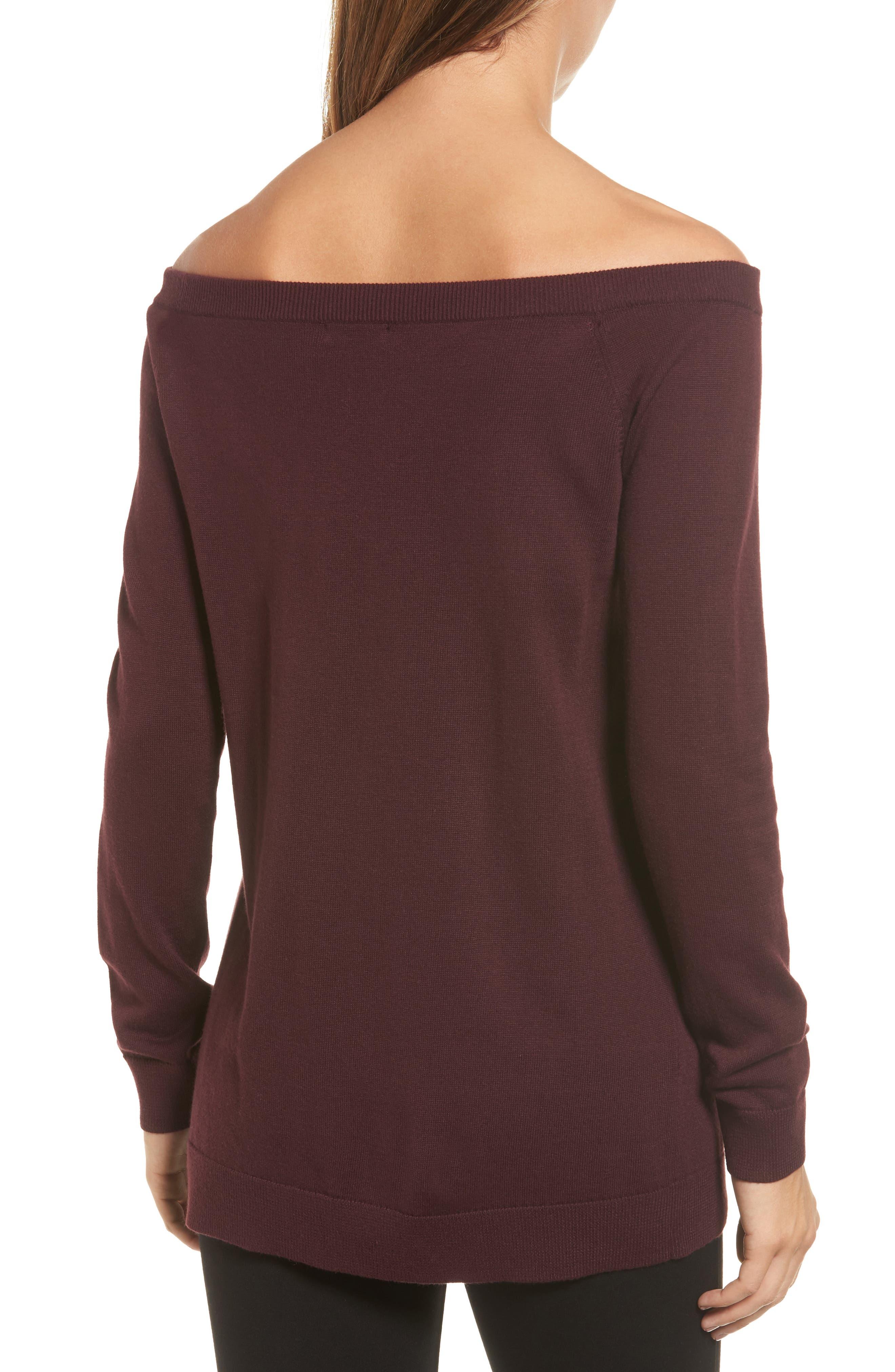Alternate Image 2  - Halogen® Cotton Blend Off the Shoulder Sweater (Regular & Petite)