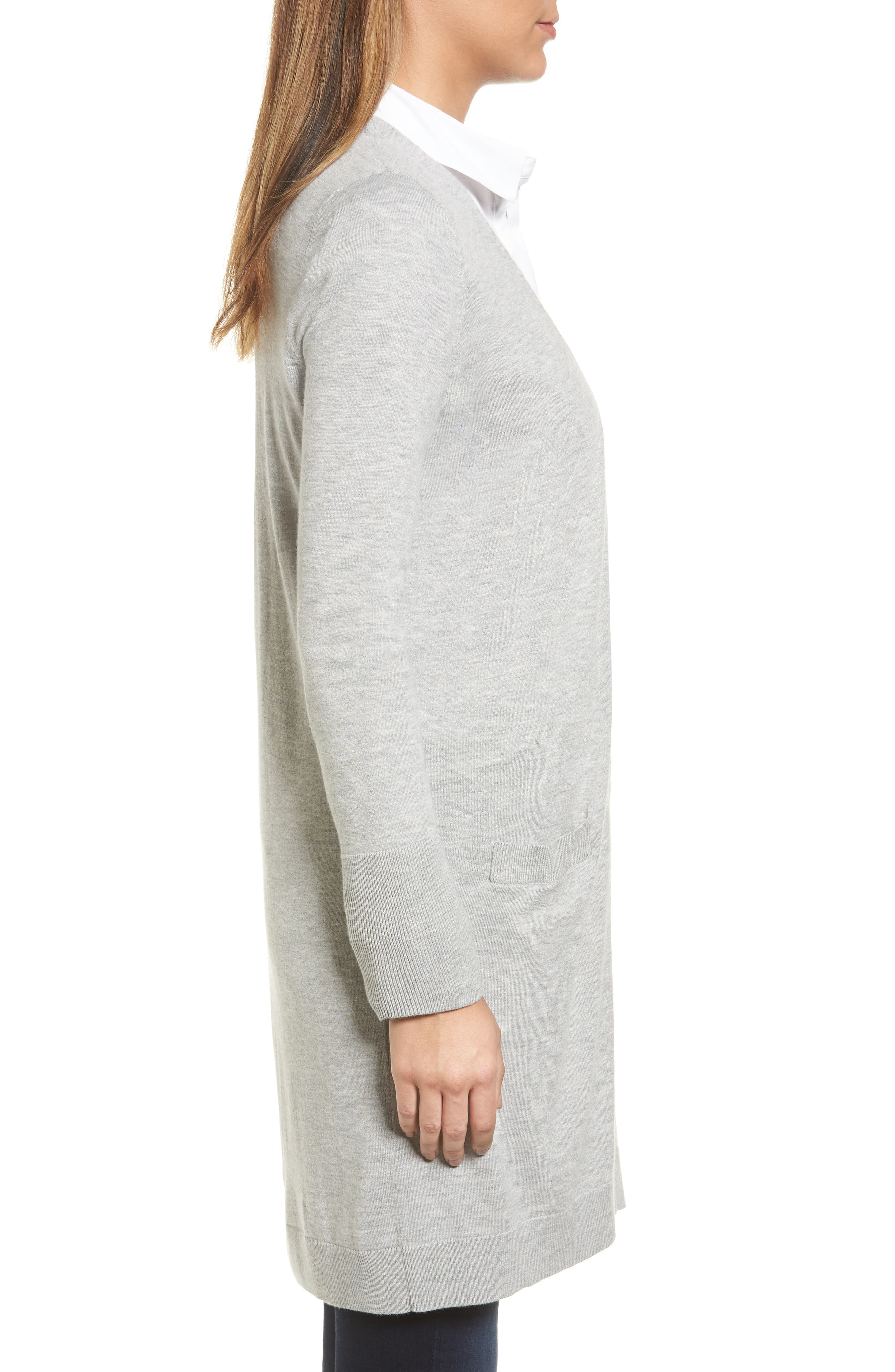 Alternate Image 3  - Halogen® Long Open Front Cardigan (Regular & Petite)