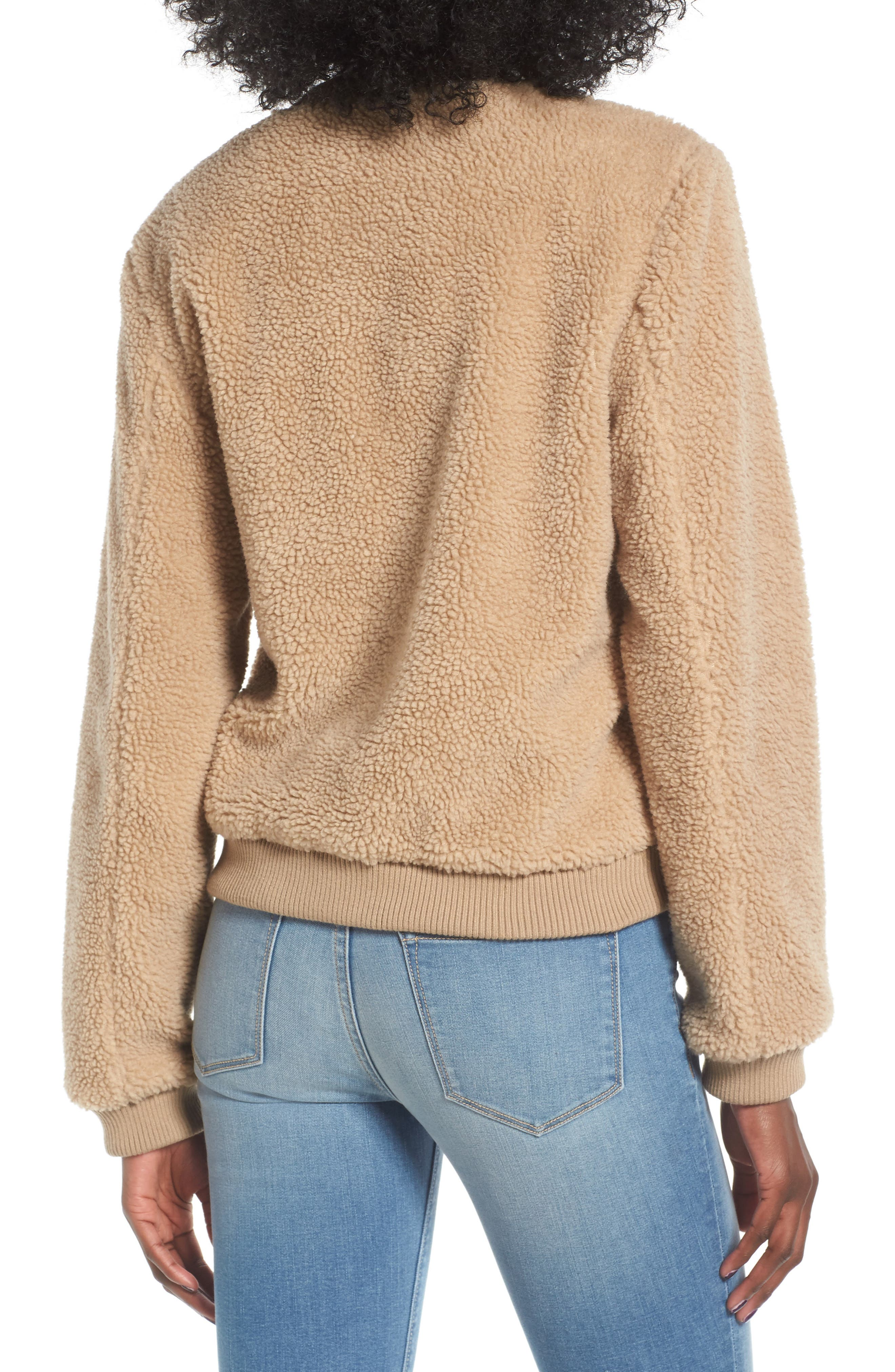 Faux Shearling Bomber Jacket,                             Alternate thumbnail 2, color,                             Camel