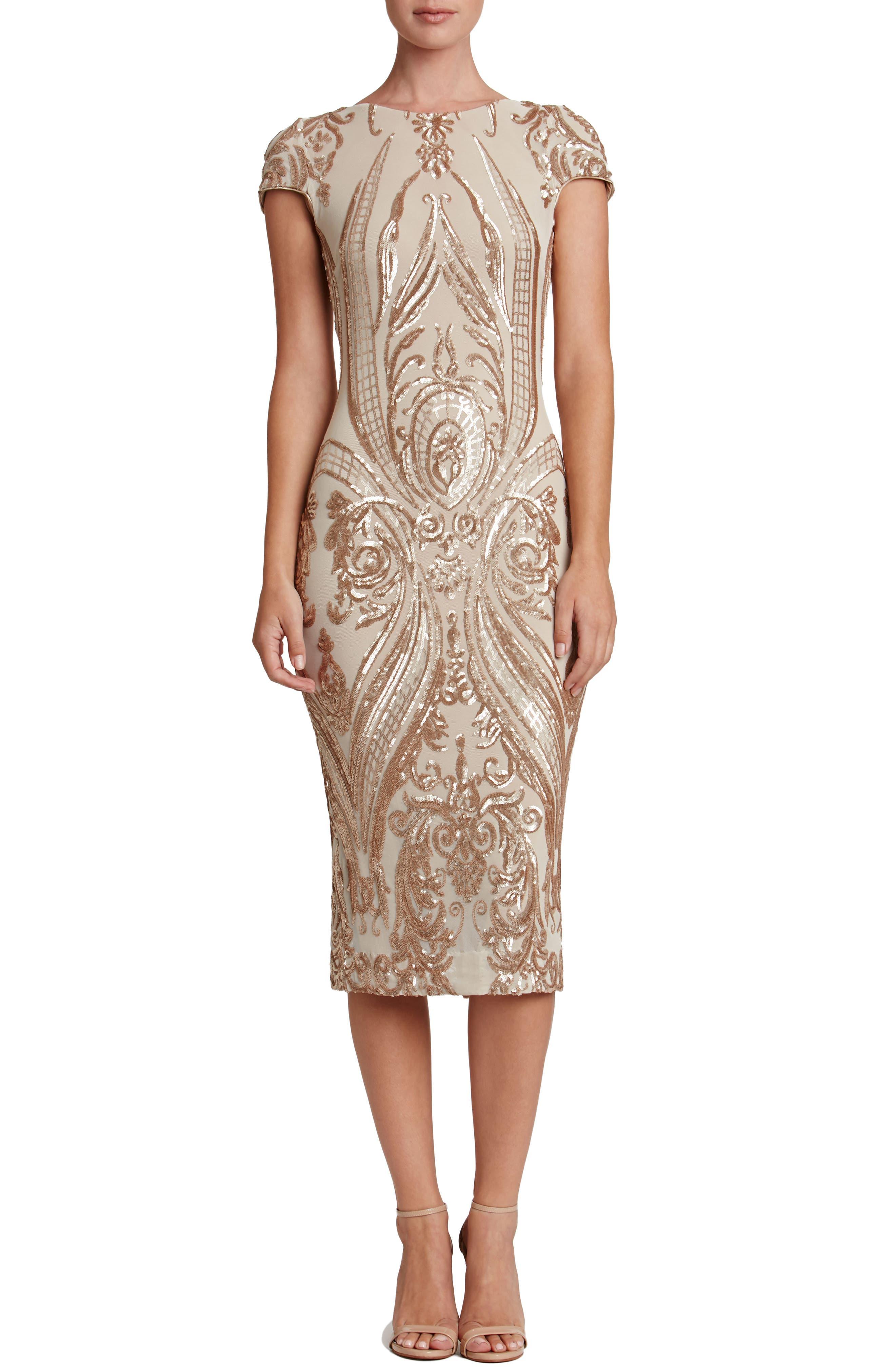 Brandi Sequin Body-Con Dress,                             Main thumbnail 1, color,                             Champagne/ Nude