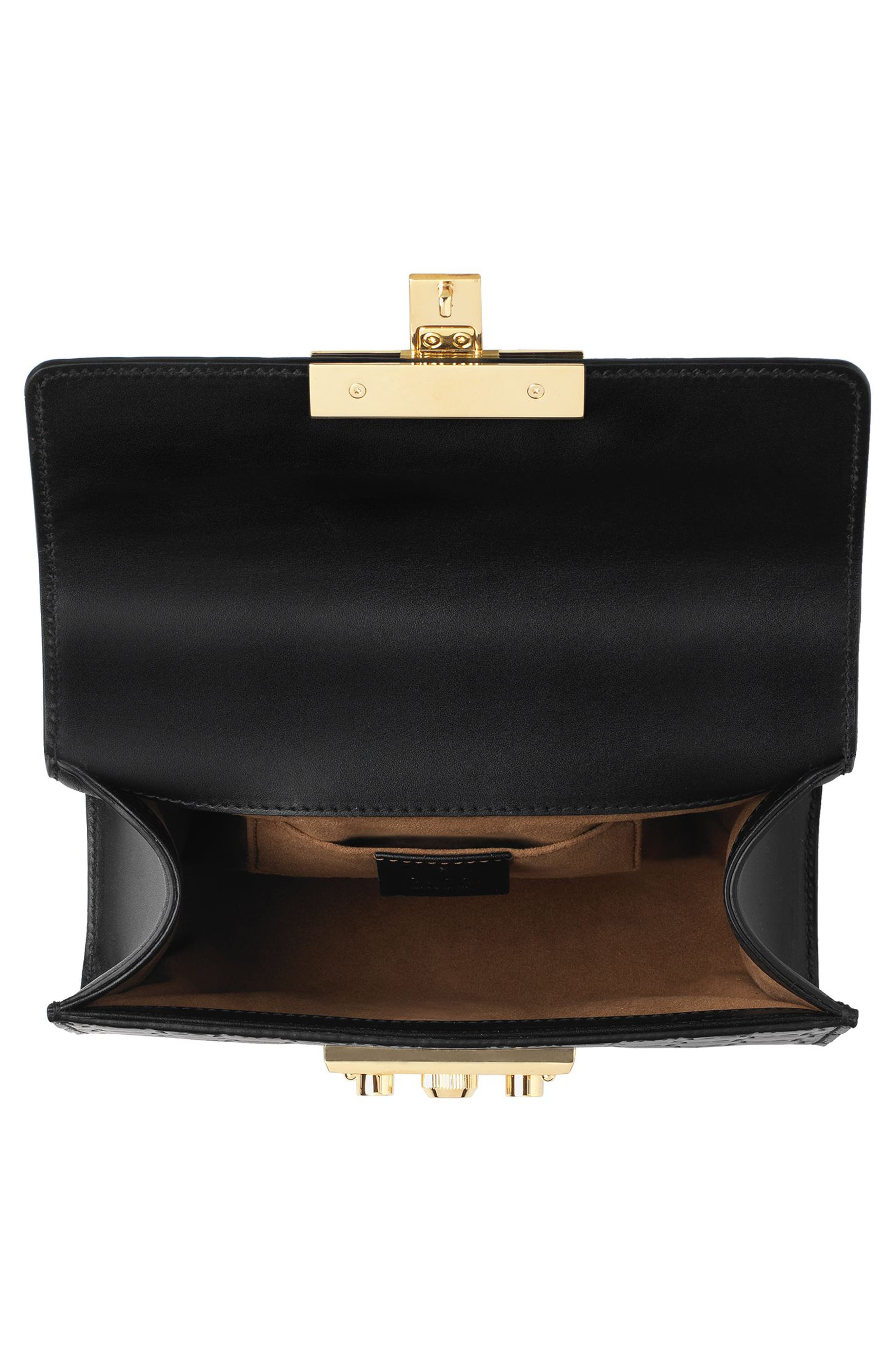 Small Padlock Signature Leather Shoulder Bag,                             Alternate thumbnail 3, color,                             Nero