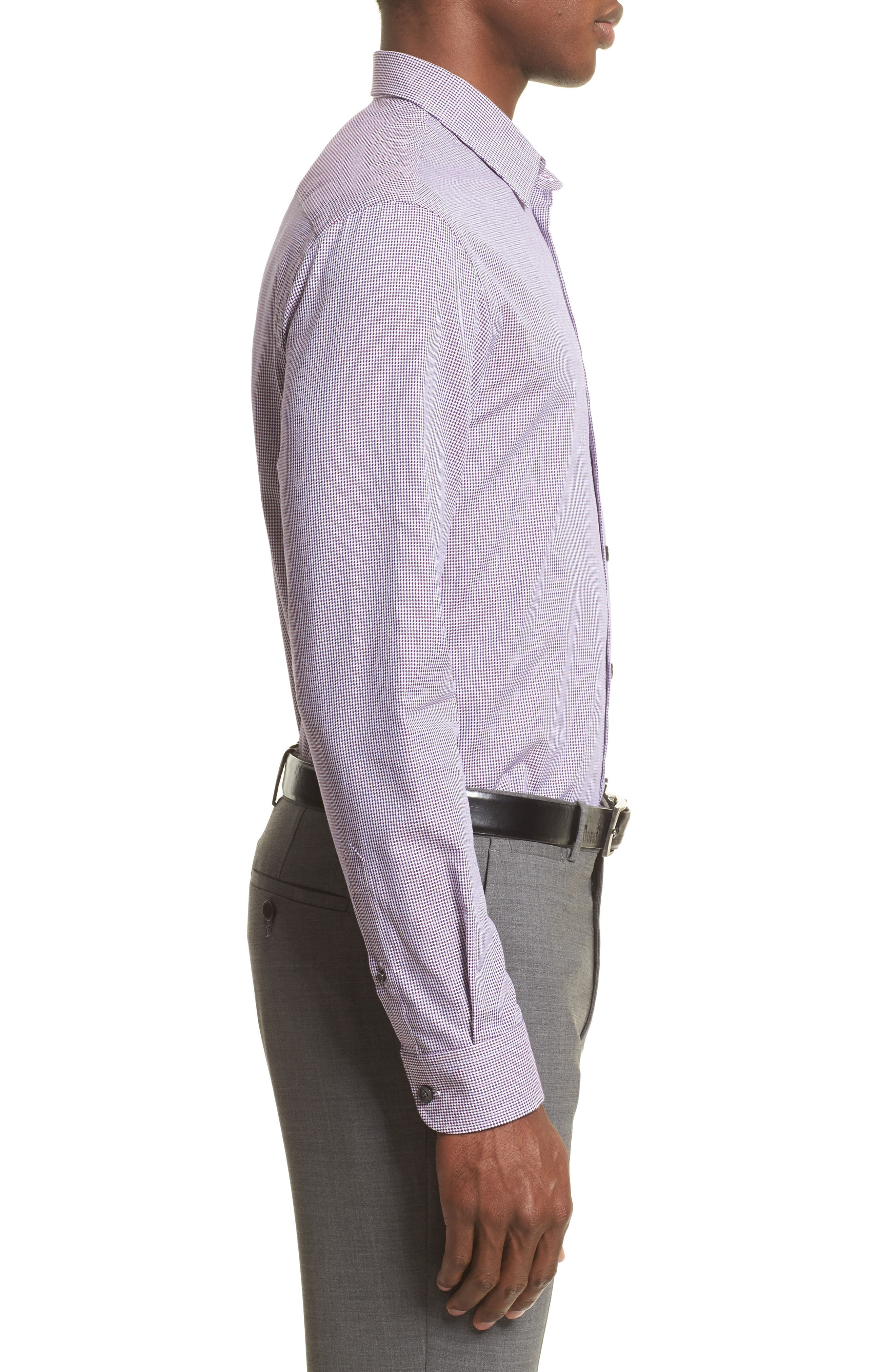 Regular Fit Houndstooth Sport Shirt,                             Alternate thumbnail 4, color,                             Anthracite/ Purple
