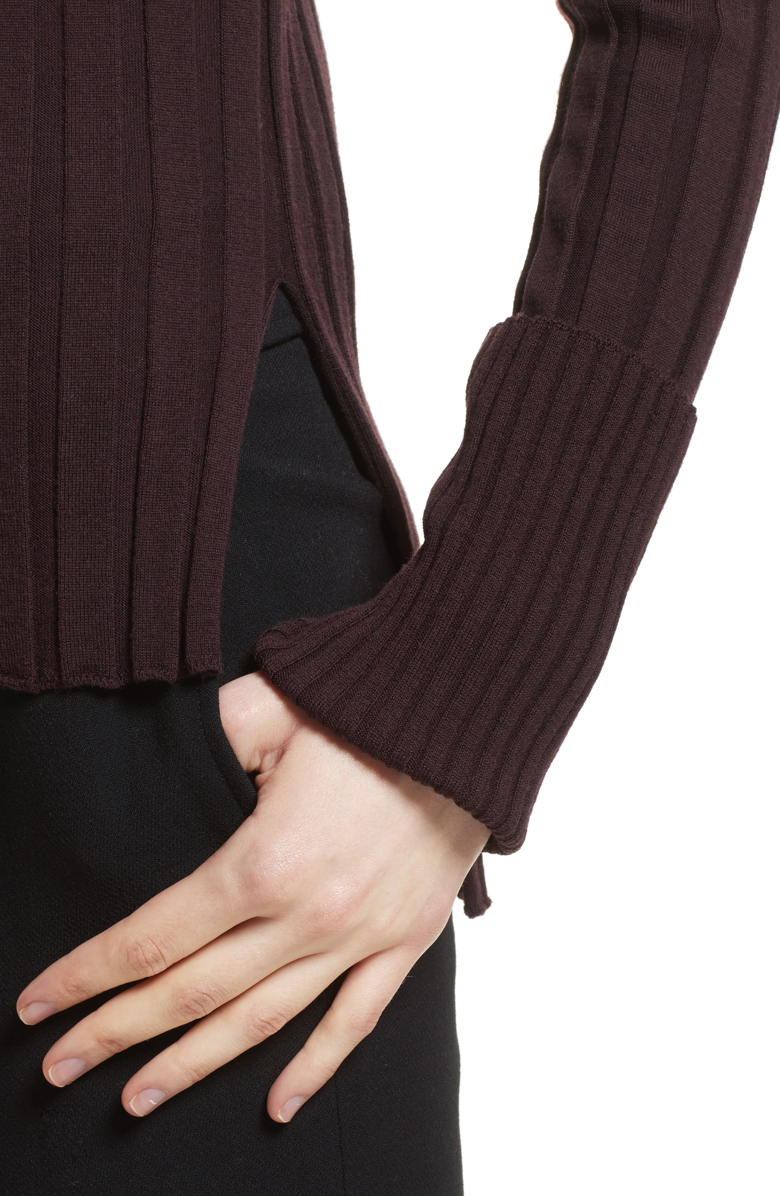 Alternate Image 4  - Theory Wide Ribbed Mock Neck Wool Sweater