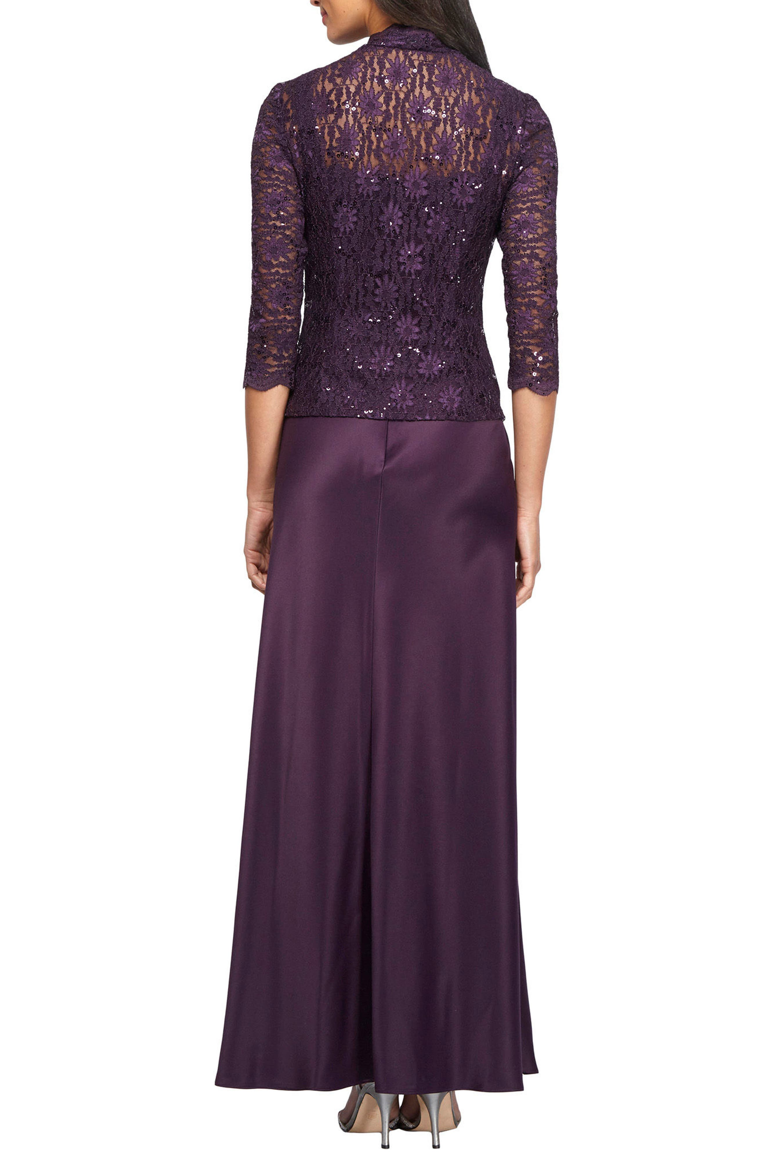 Alternate Image 3  - Alex Evenings Sequin Lace & Satin Gown with Jacket (Regular & Petite)
