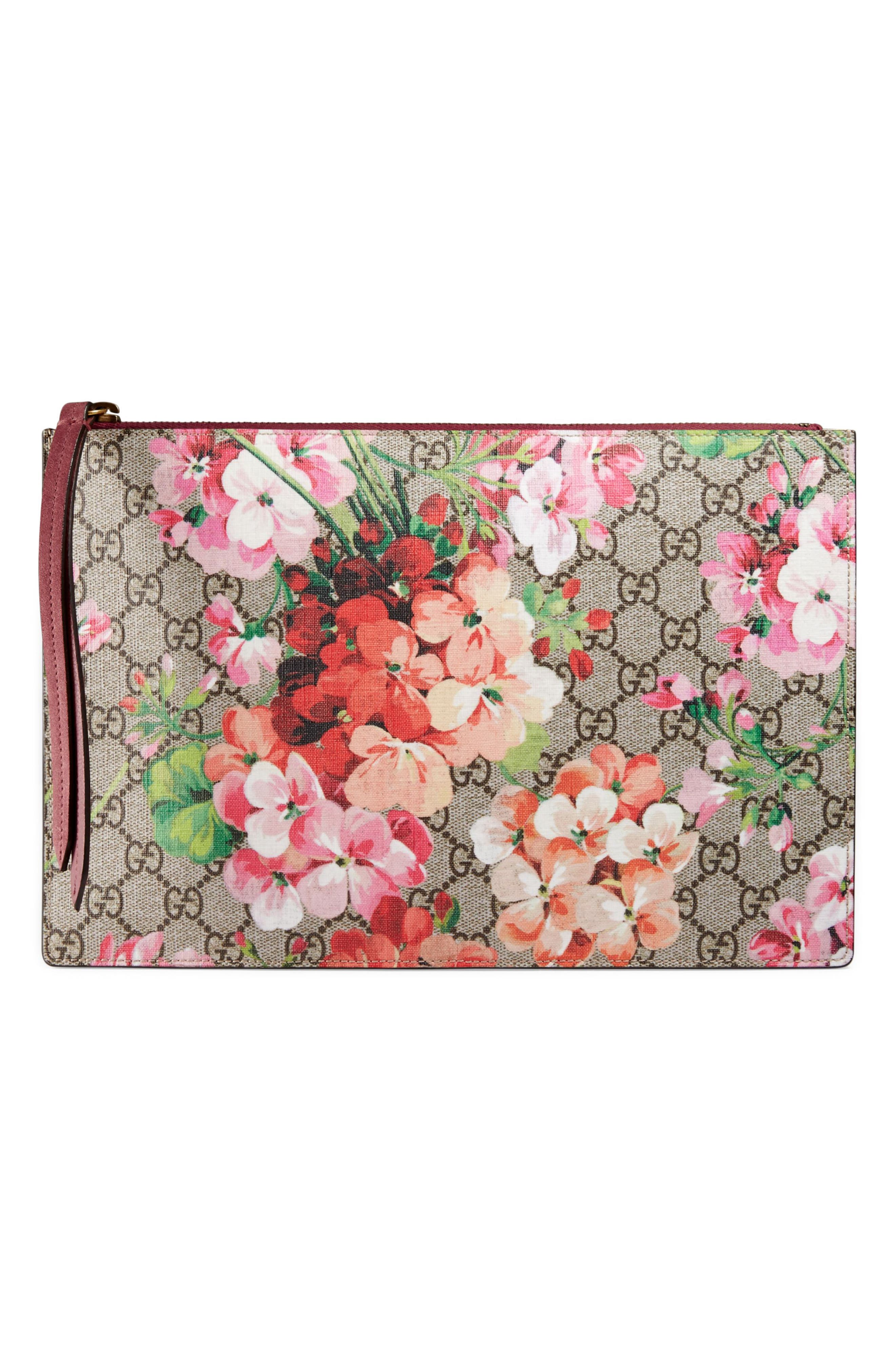 Main Image - Gucci GG Blooms Large Canvas & Suede Pouch