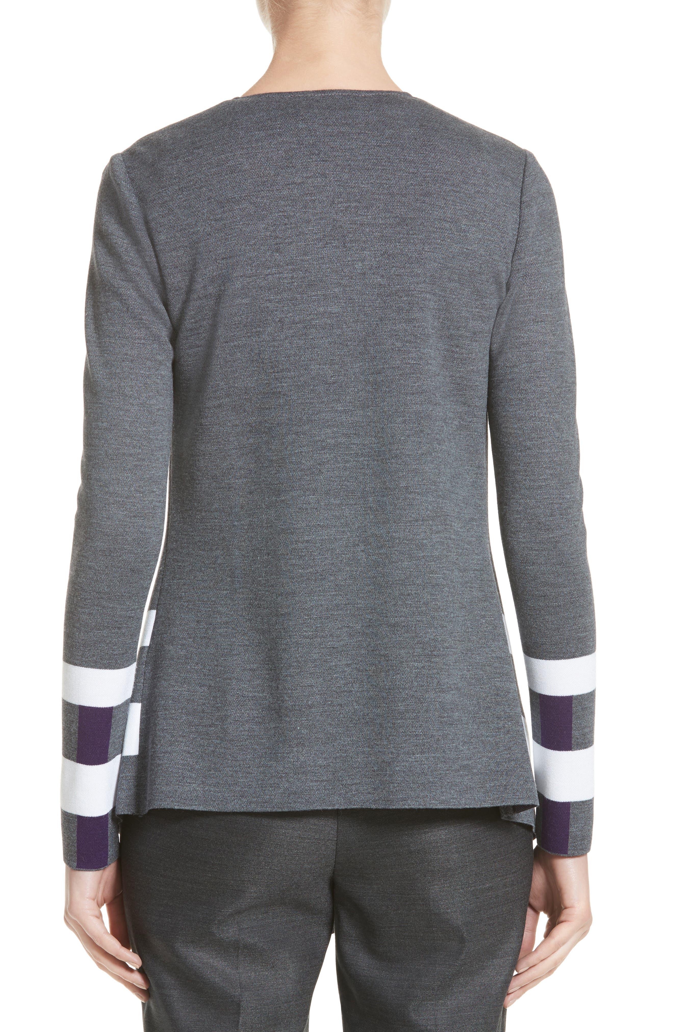 Milano Knit Jacquard Drape Front Jacket,                             Alternate thumbnail 2, color,                             Flint Multi