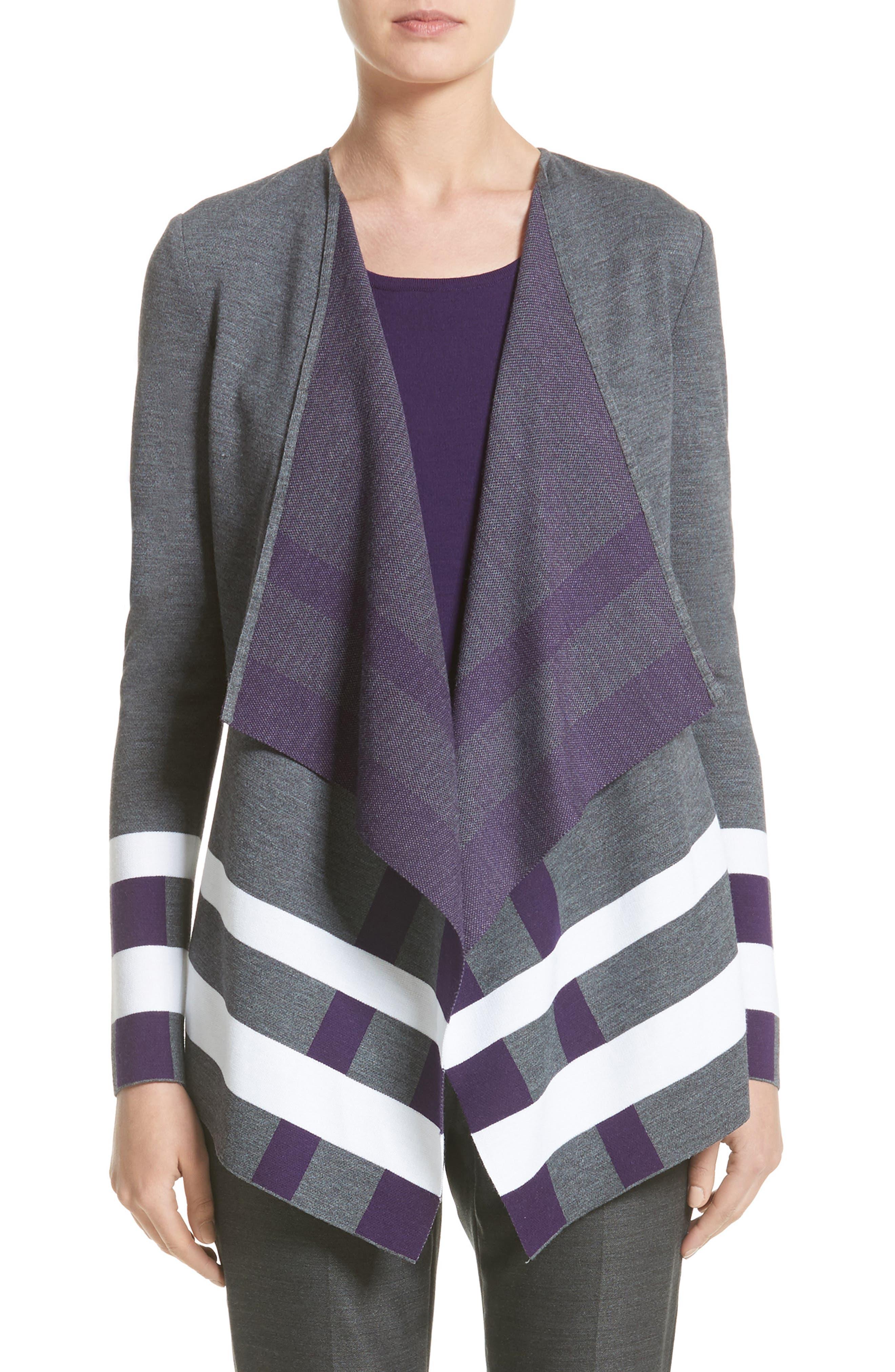 Milano Knit Jacquard Drape Front Jacket,                             Main thumbnail 1, color,                             Flint Multi