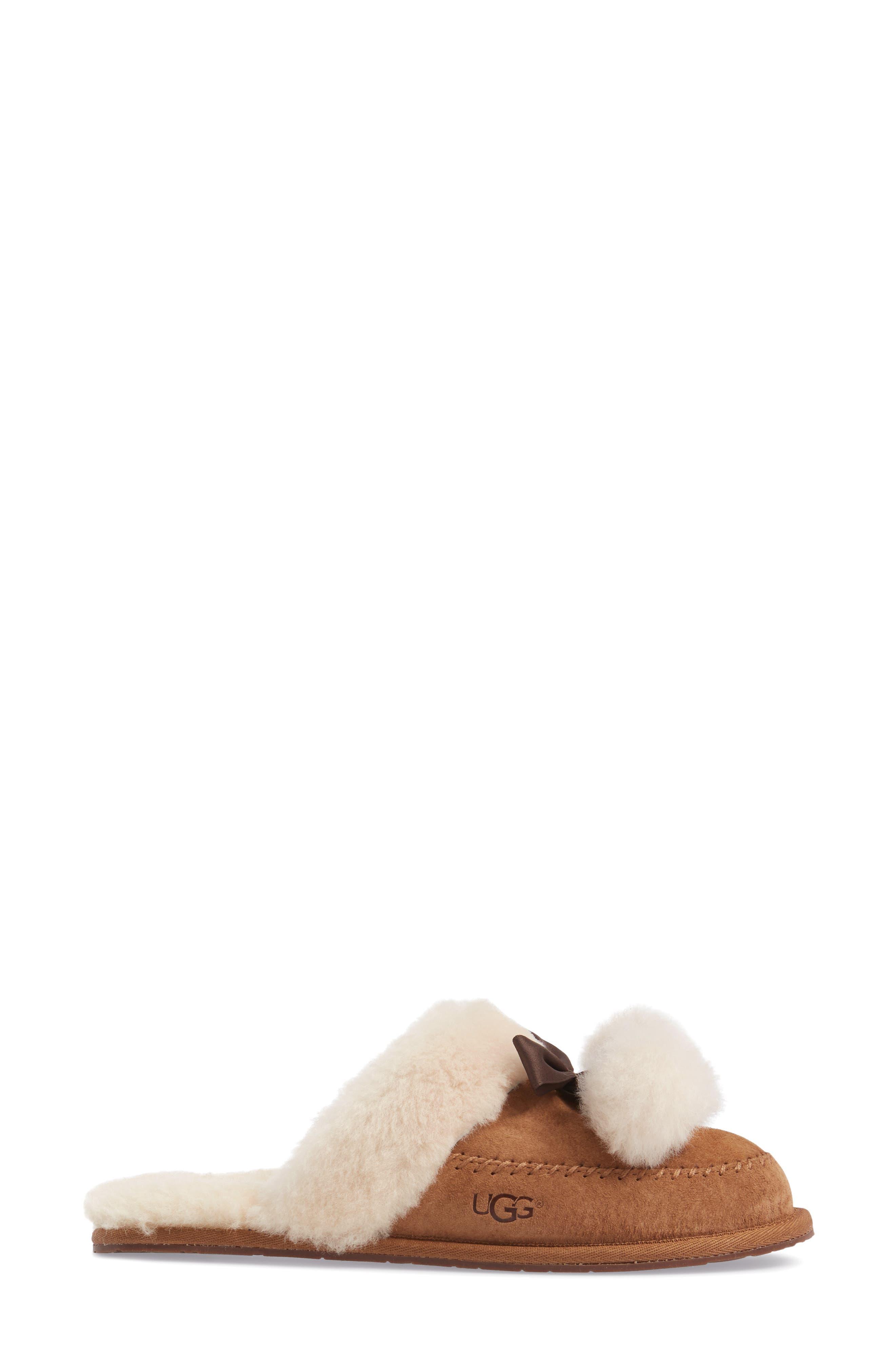 Hafnier Genuine Shearling Slipper,                             Alternate thumbnail 3, color,                             Chestnut Suede