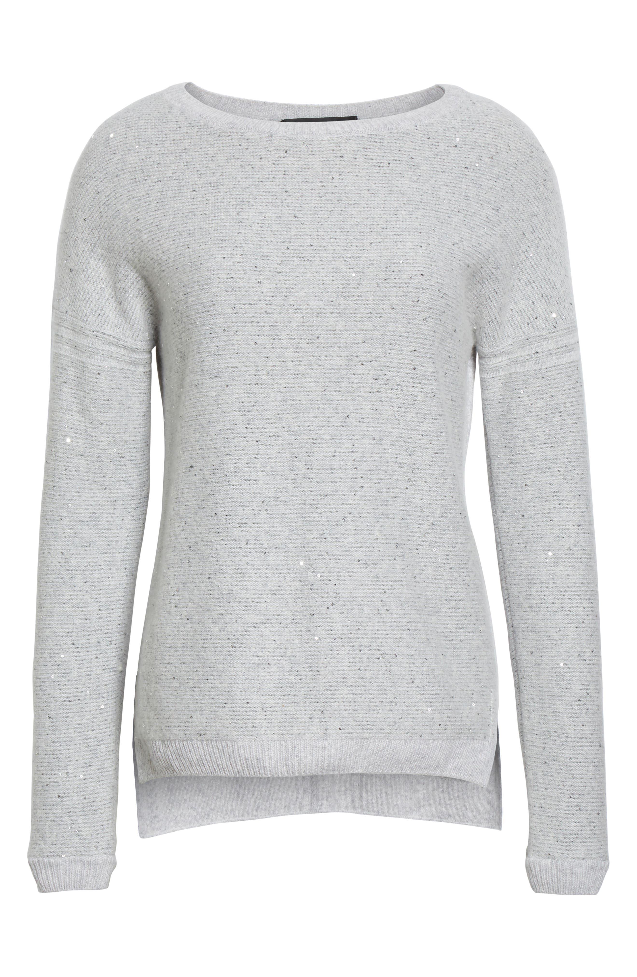 Micro Sequin Stripe Reverse Jersey Cashmere Blend Sweater,                             Alternate thumbnail 6, color,                             Light Grey Melange