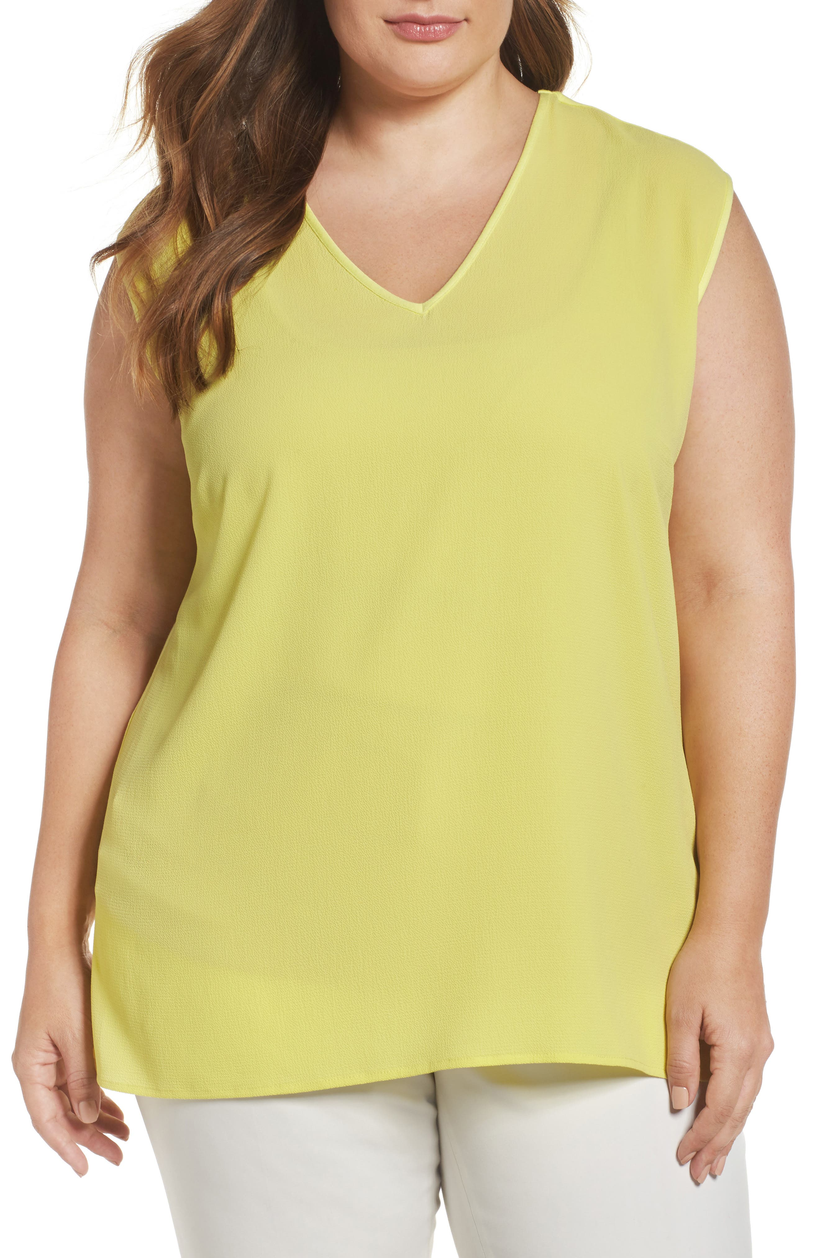Vince Camuto Mixed Media V-Neck Tee (Plus Size)