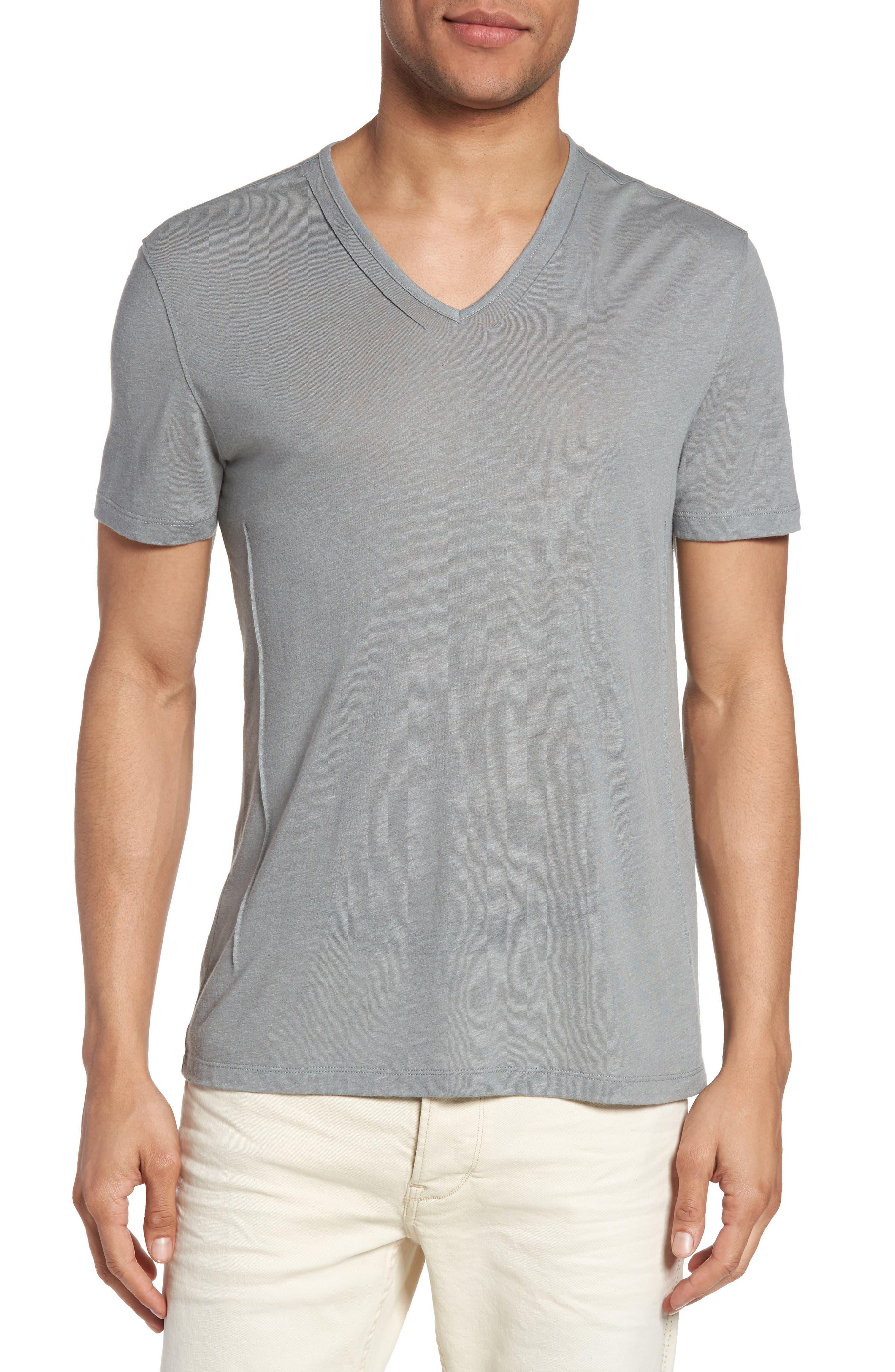 V-Neck T-Shirt,                         Main,                         color, Elephant Grey
