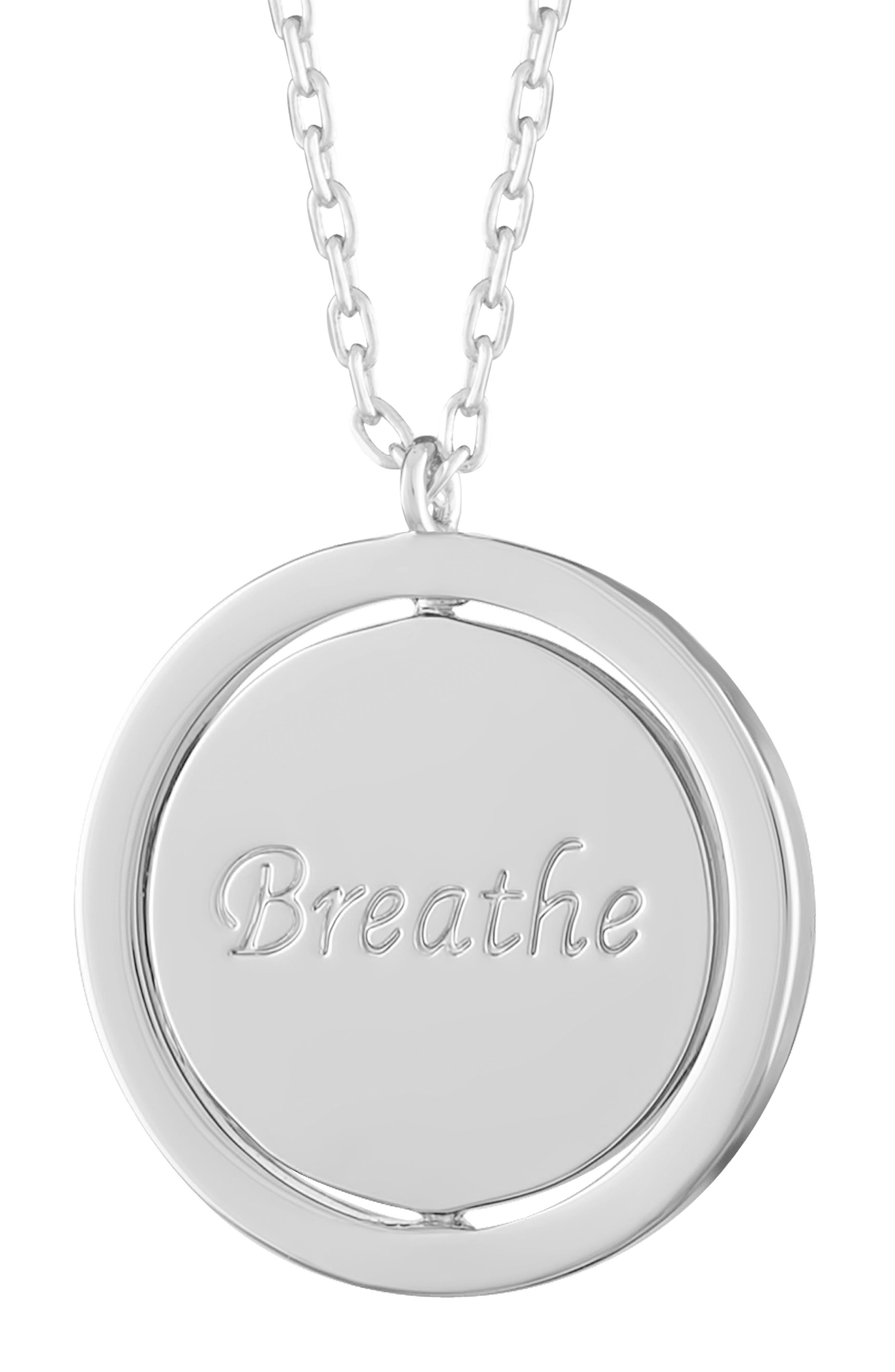 Breathe Love Letters Flip Pendant Necklace,                             Alternate thumbnail 5, color,                             Breathe/ Silver