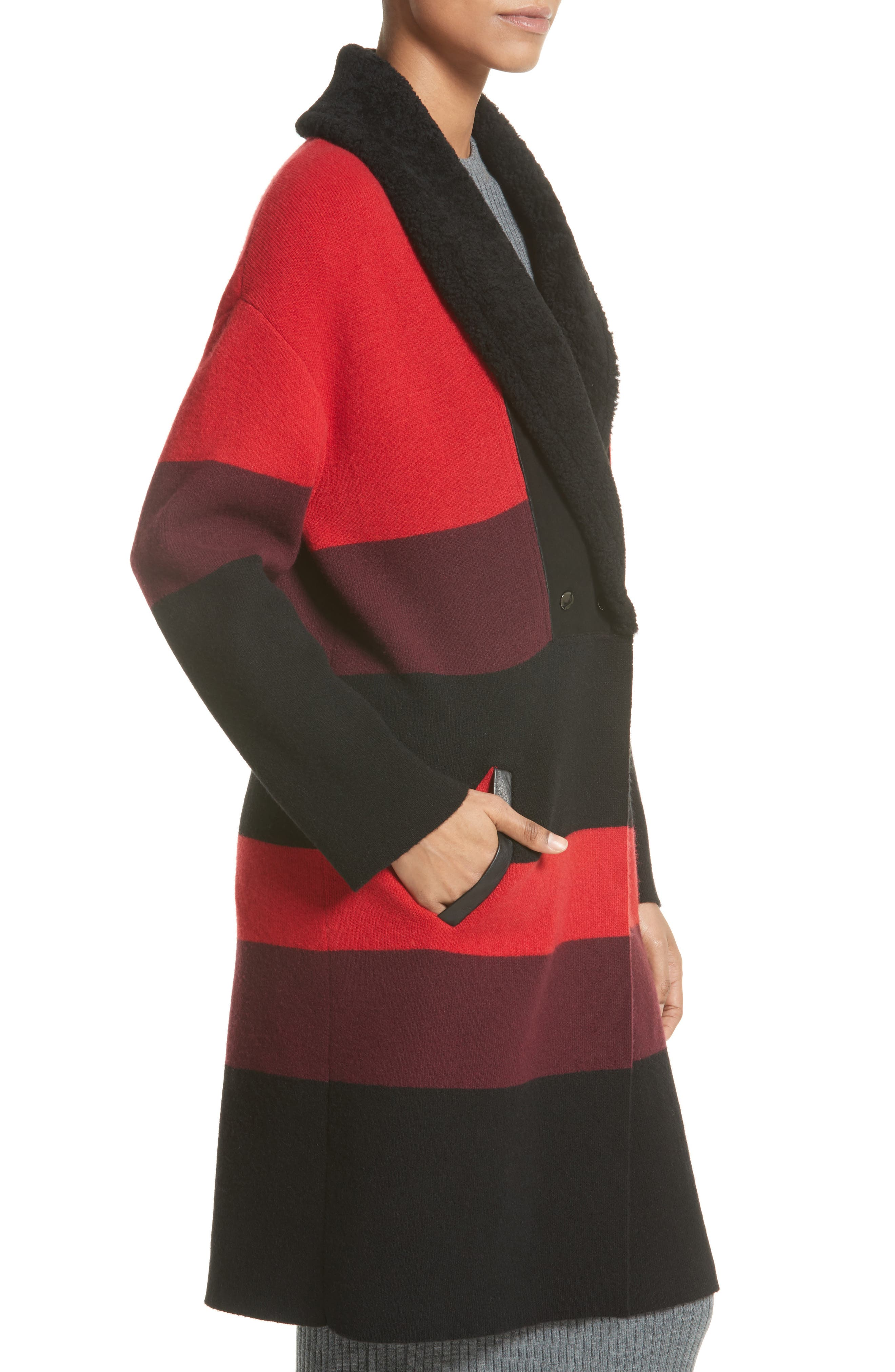 Double Knit Felted Wool Blend Coat with Genuine Shearling Collar,                             Alternate thumbnail 4, color,                             Caviar/ Sari Multi