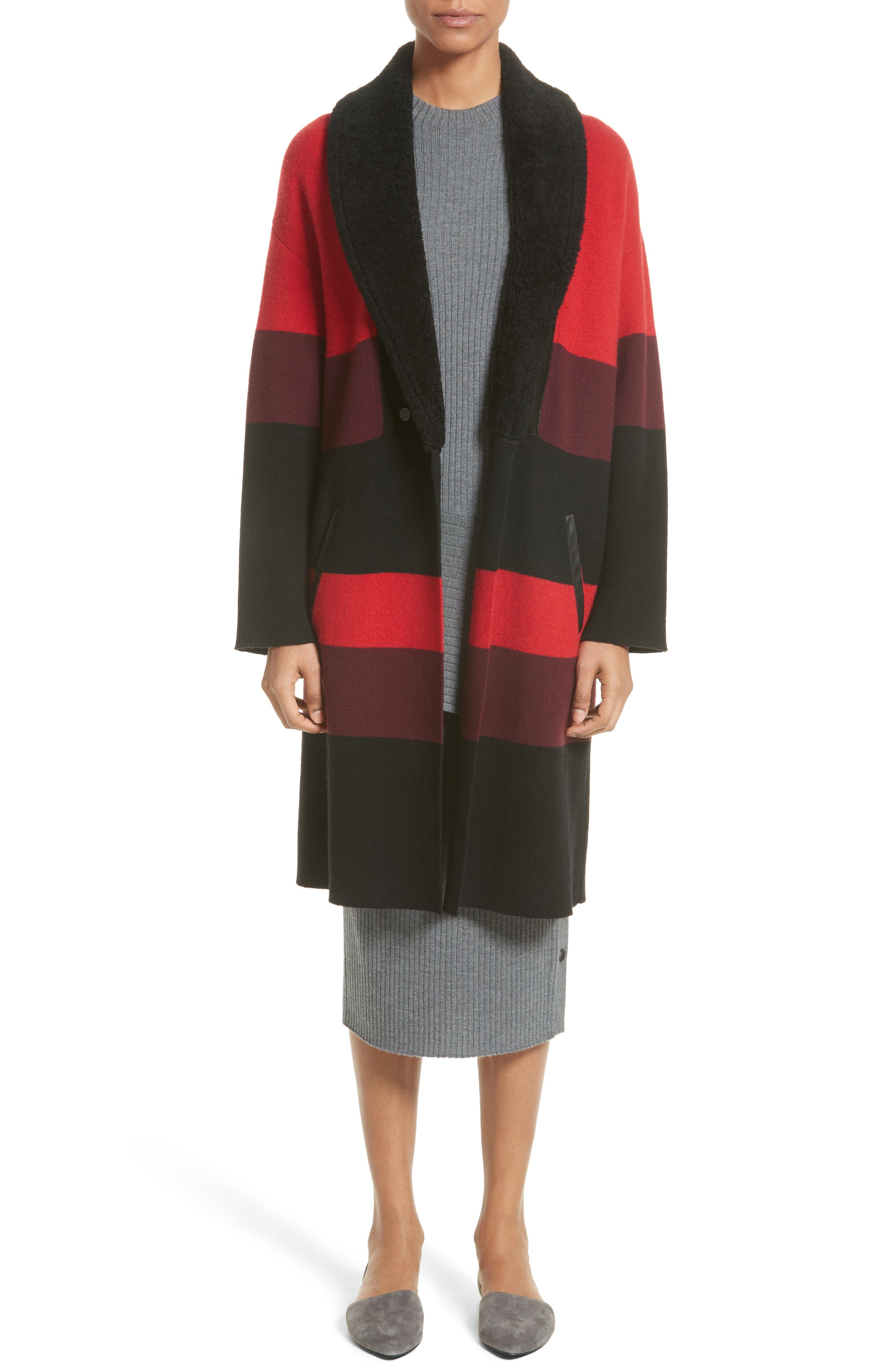 Double Knit Felted Wool Blend Coat with Genuine Shearling Collar,                             Alternate thumbnail 7, color,                             Caviar/ Sari Multi