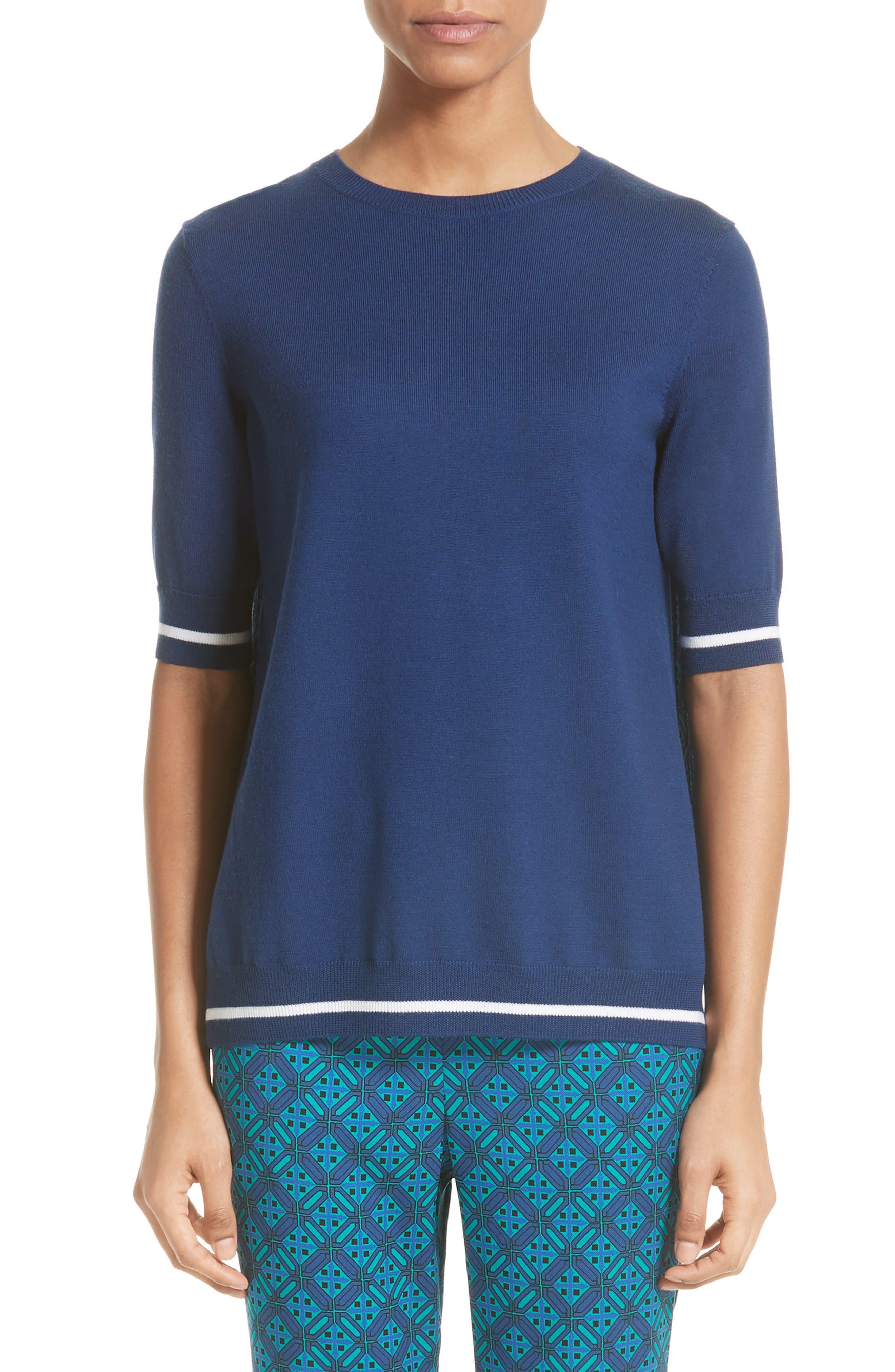 Sarita Tile Print Jersey Knit Sweater,                             Main thumbnail 1, color,                             Azurite Multi