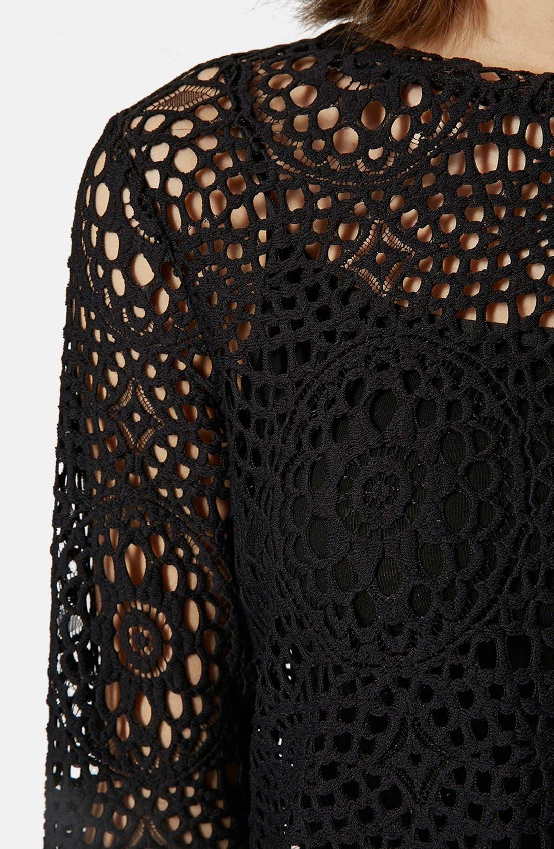 Long Sleeve Crochet Top,                             Alternate thumbnail 4, color,                             Black