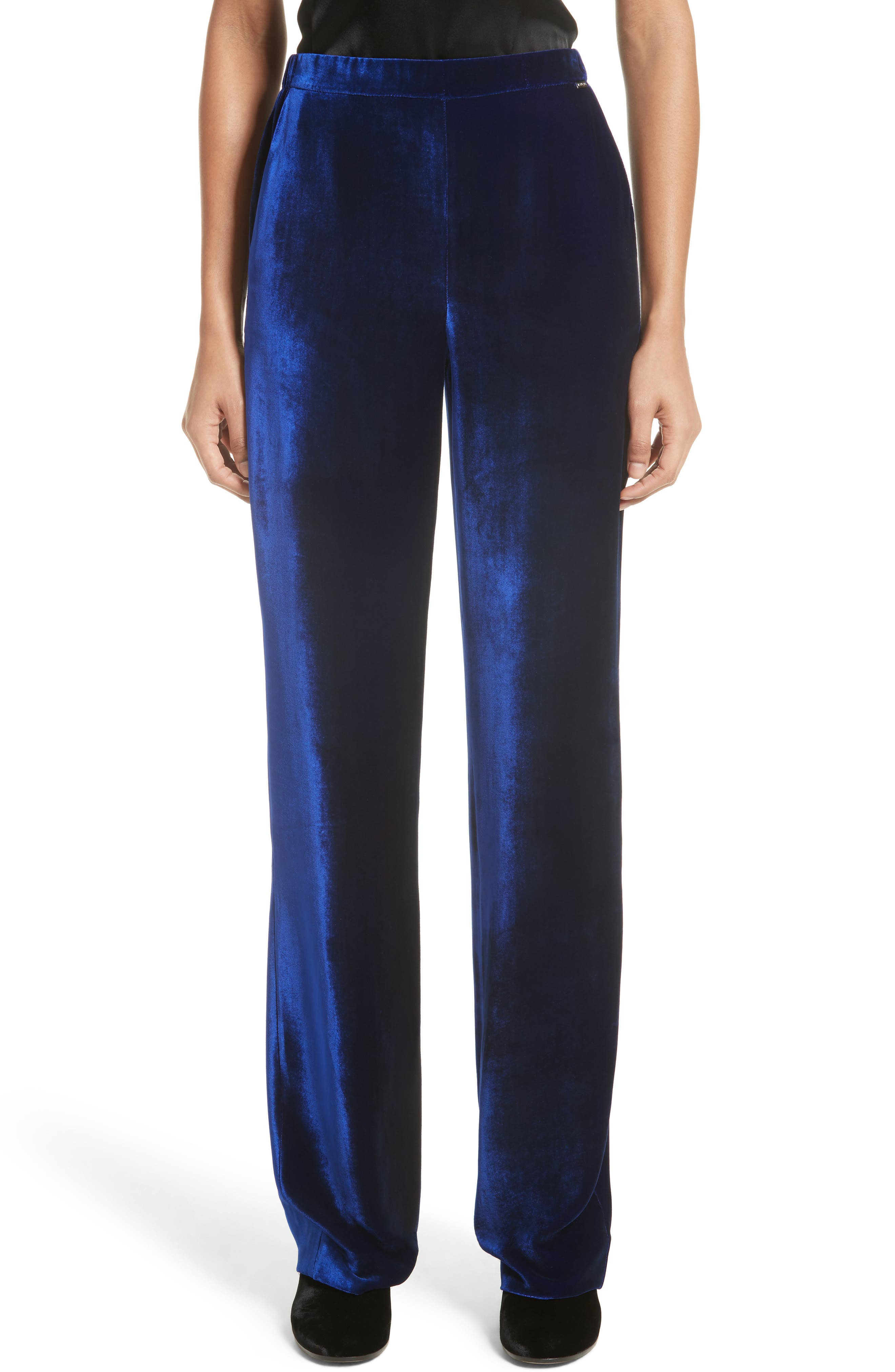 Alternate Image 1 Selected - St. John Collection Velvet Wide Leg Pants