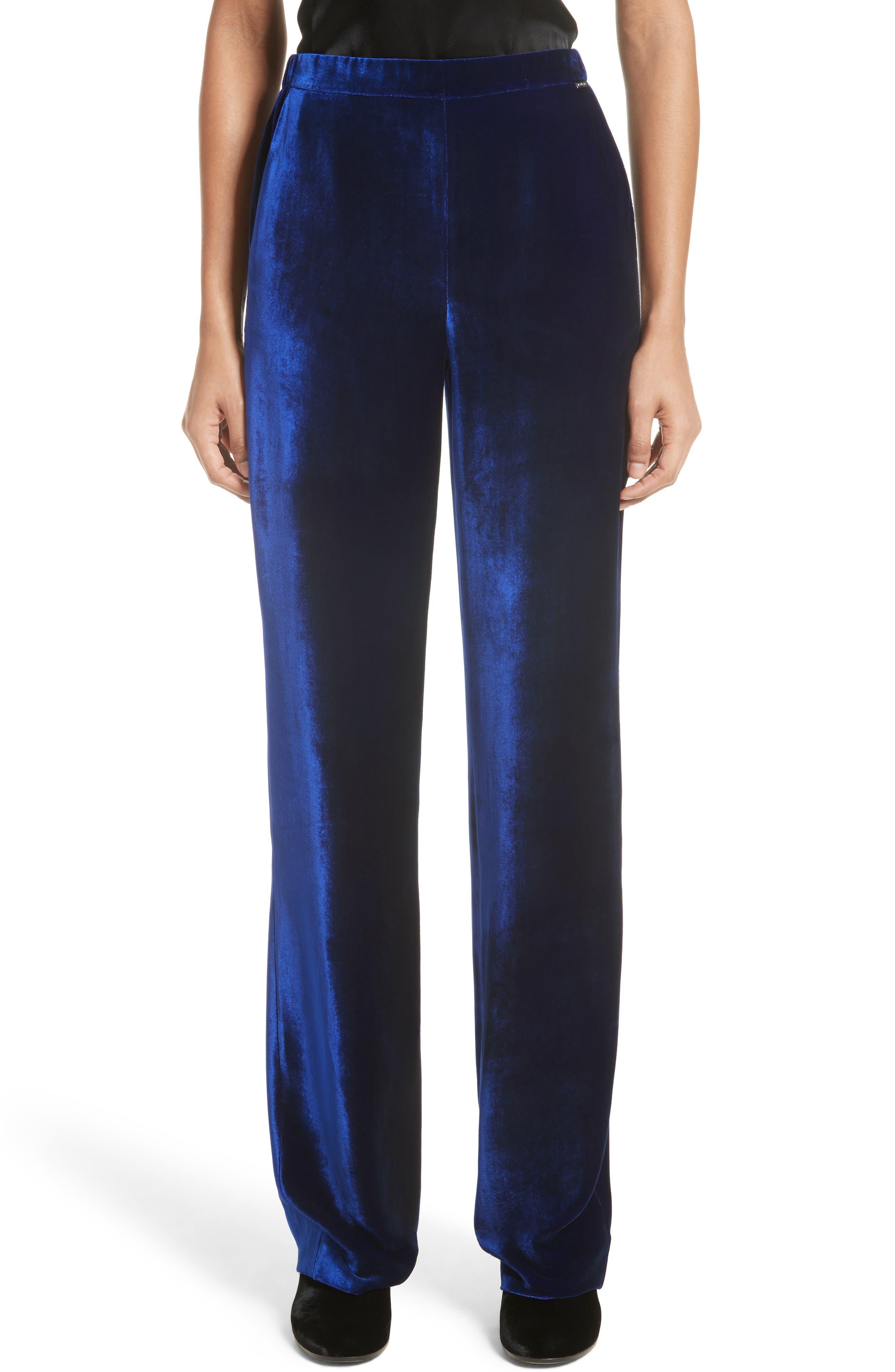 St. John Collection Velvet Wide Leg Pants