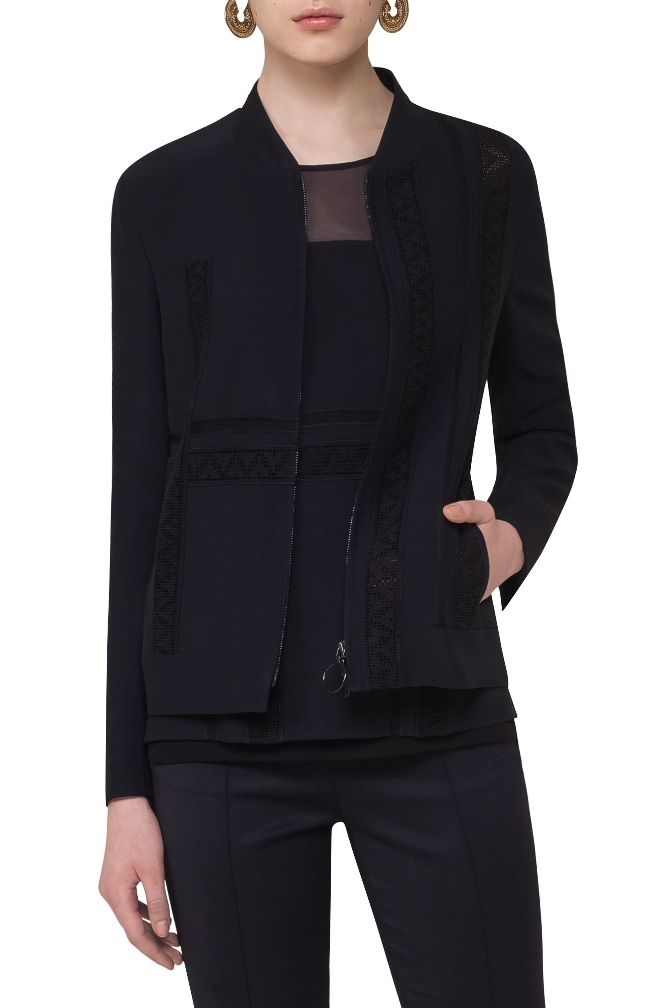 Alternate Image 1 Selected - Akris punto Lace Embellished Zip Jacket