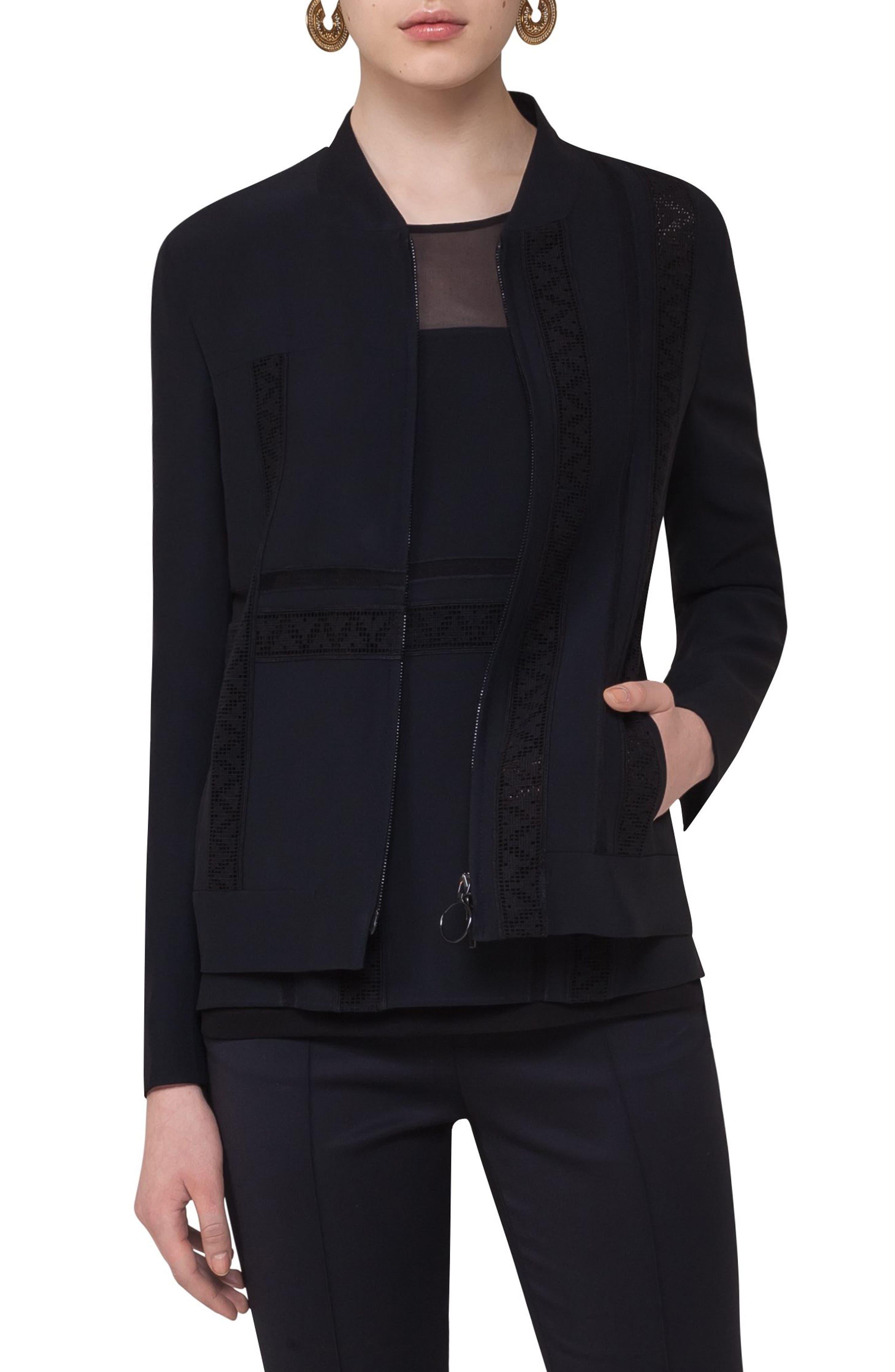 Lace Embellished Zip Jacket,                         Main,                         color, Black