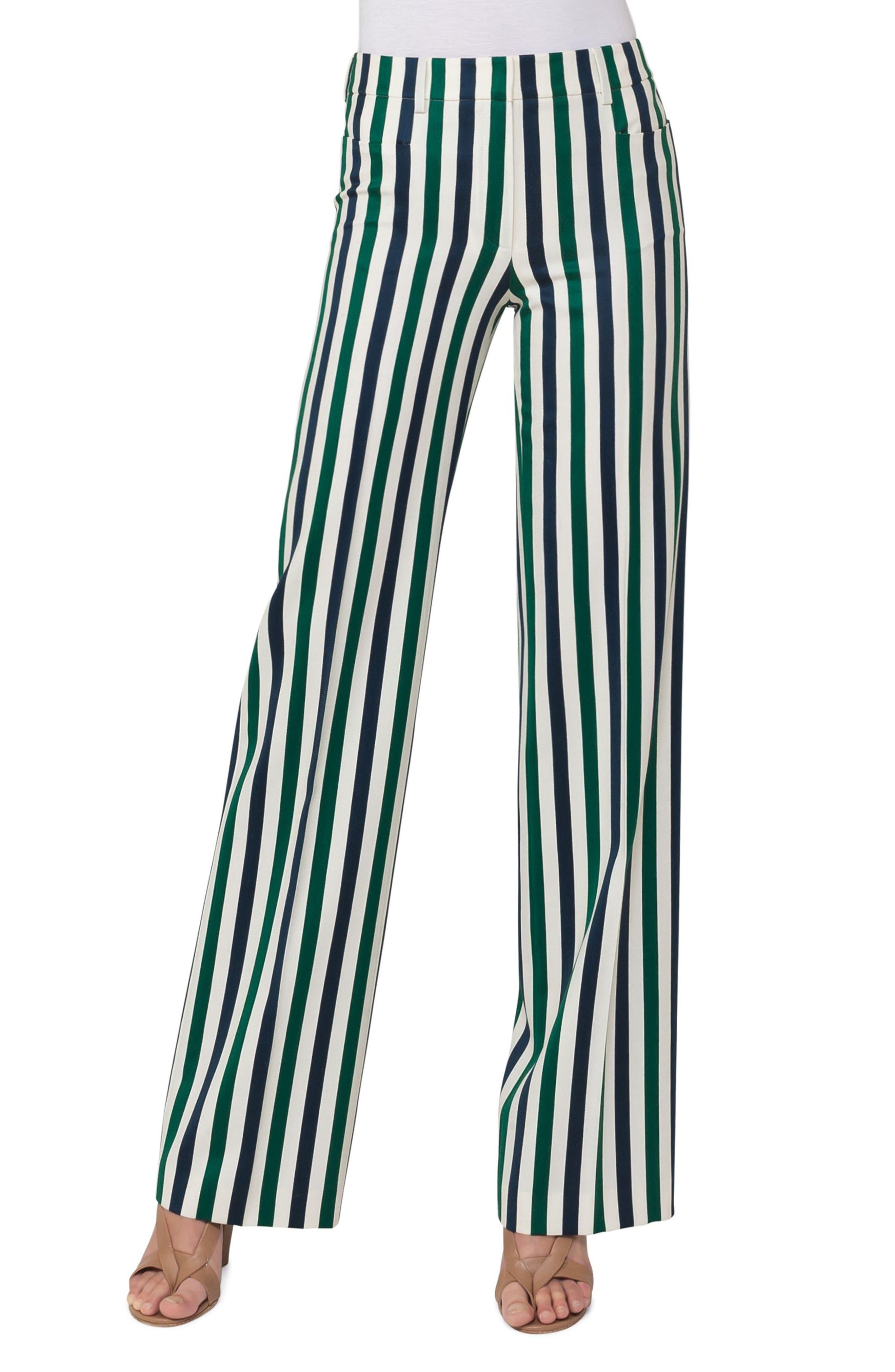 Mikka Stripe Pants,                         Main,                         color, Blue/ Emerald/ Guave