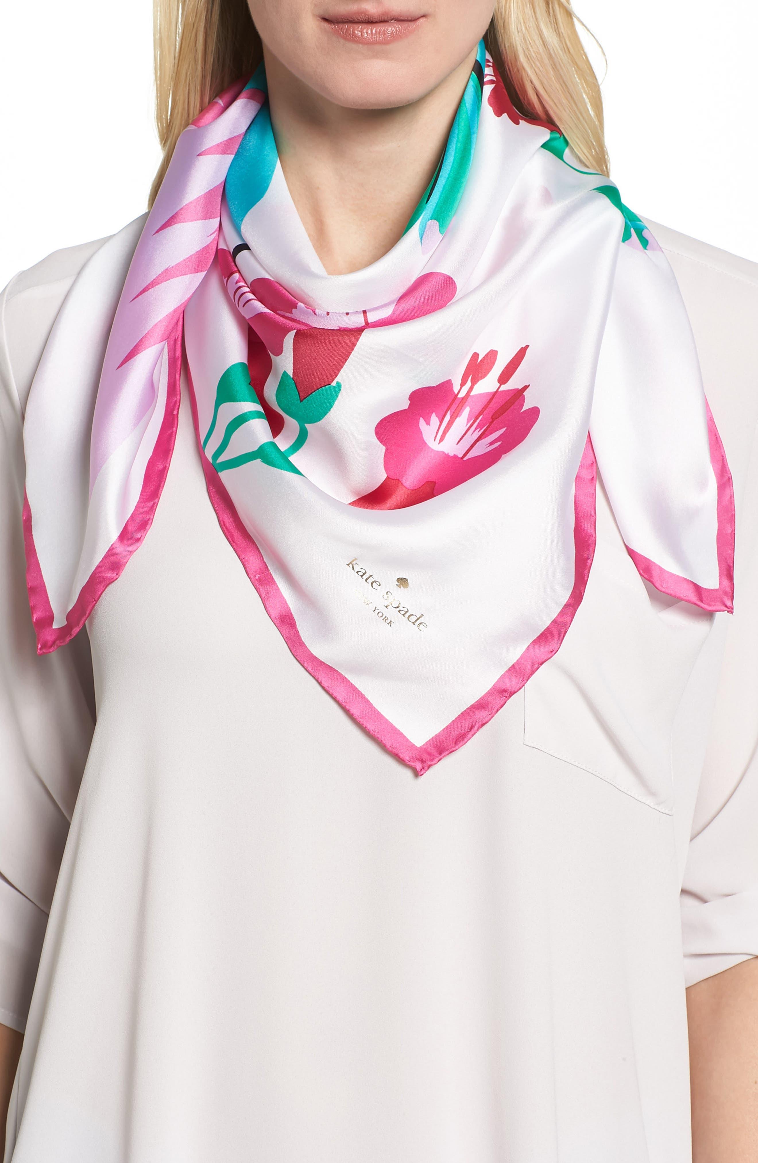 Alternate Image 1 Selected - kate spade new york hummingbird silk square scarf