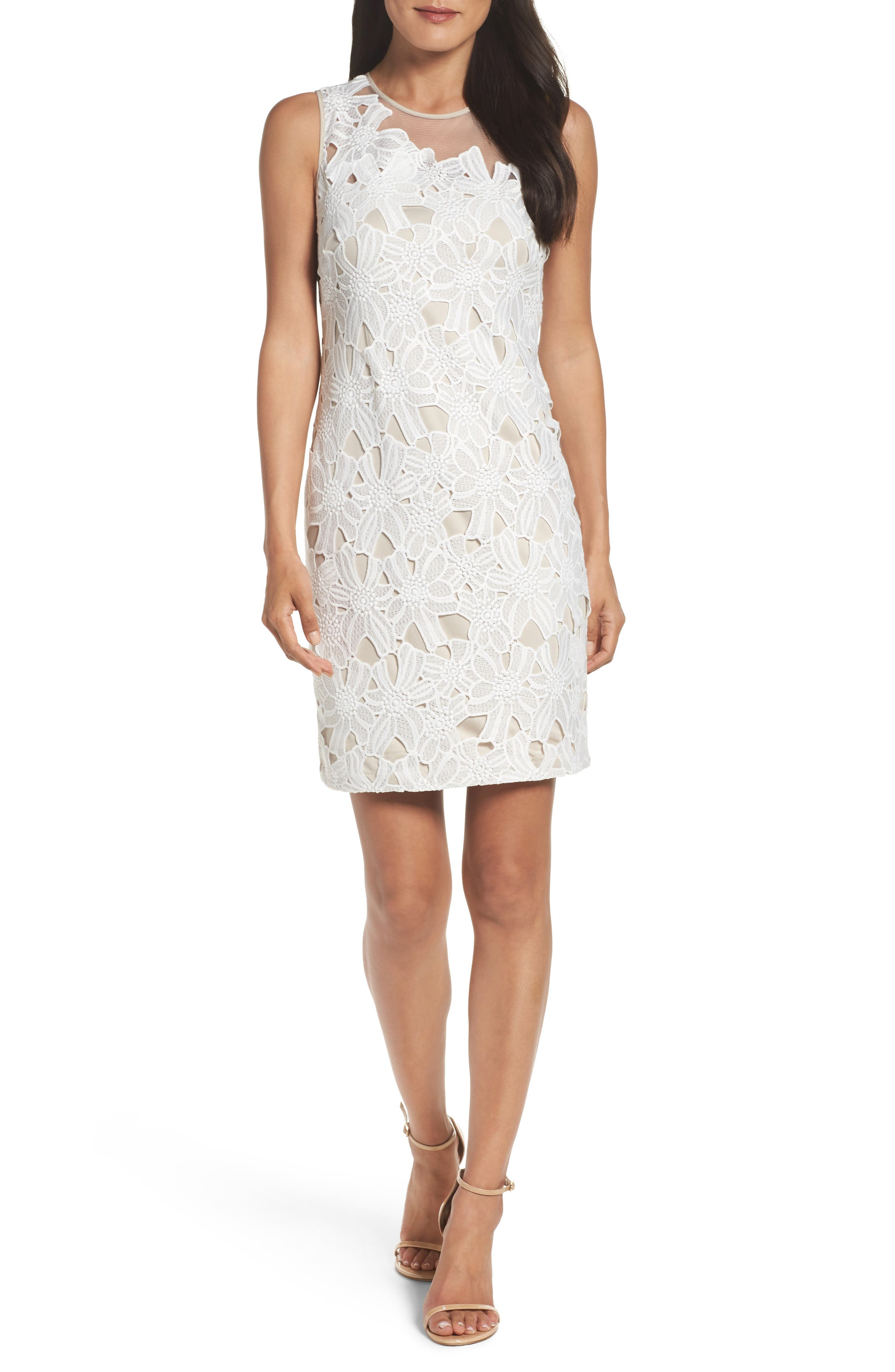 Cecila Lace Sheath Dress & Jacket Set,                             Alternate thumbnail 3, color,                             White/ Chamois