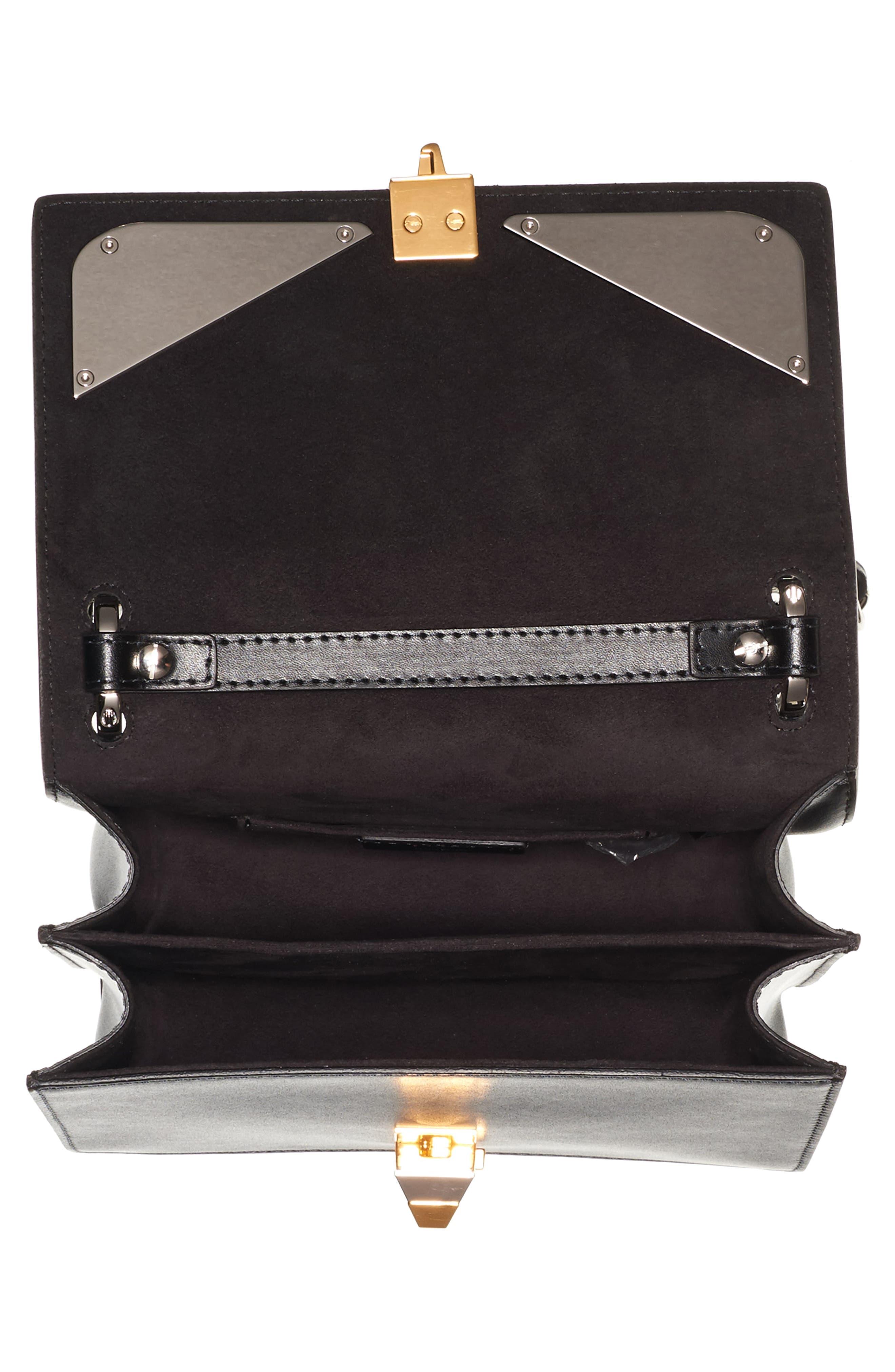 Kan I Monster Leather Shoulder Bag,                             Alternate thumbnail 3, color,                             Black Palladium