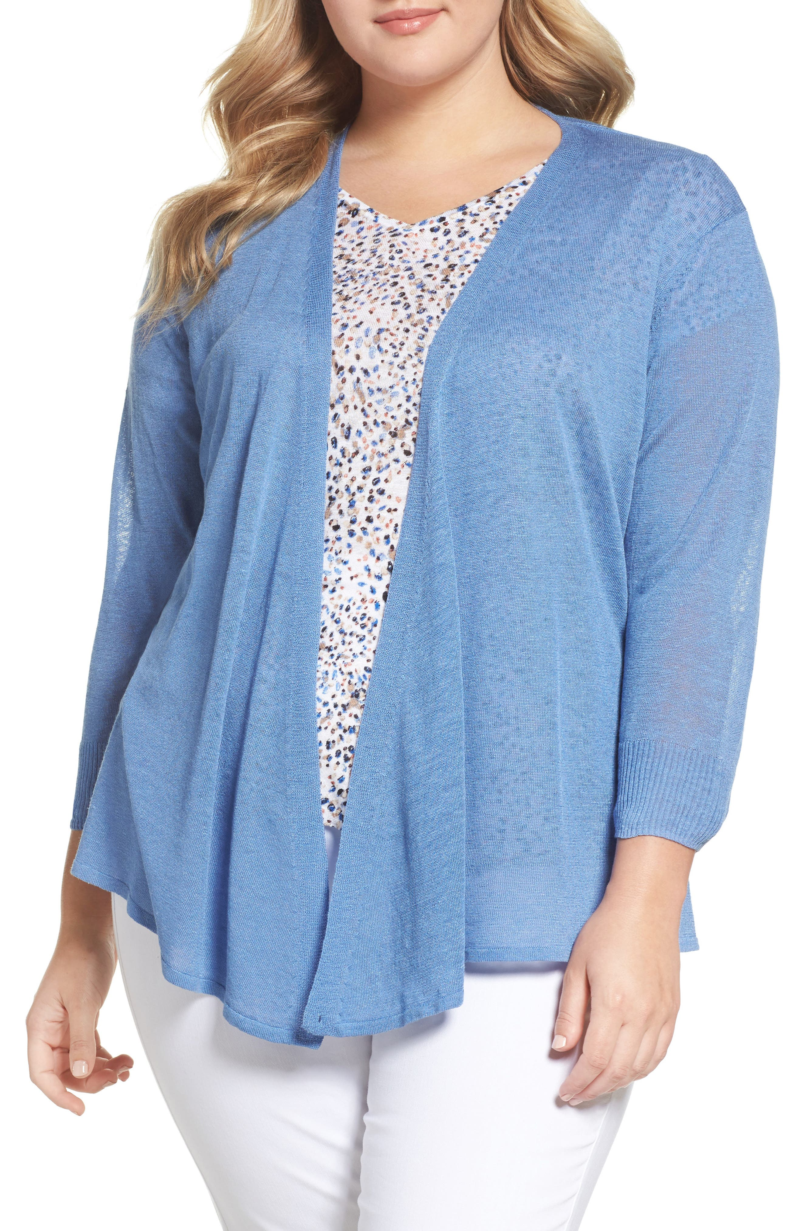 Main Image - NIC+ZOE Four-Way Convertible Cardigan (Plus Size)