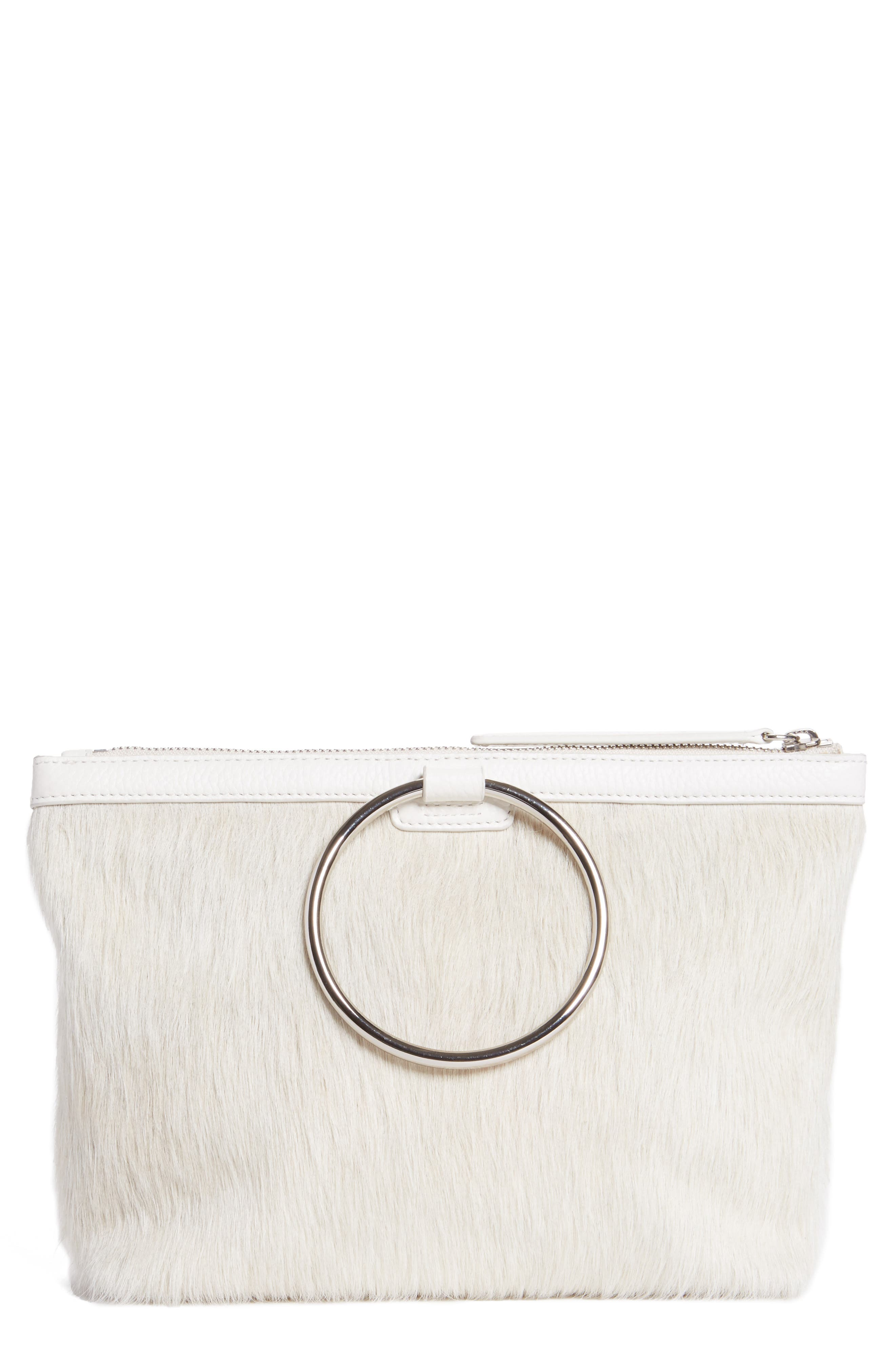 Genuine Calf Hair Ring Clutch,                         Main,                         color, Off White