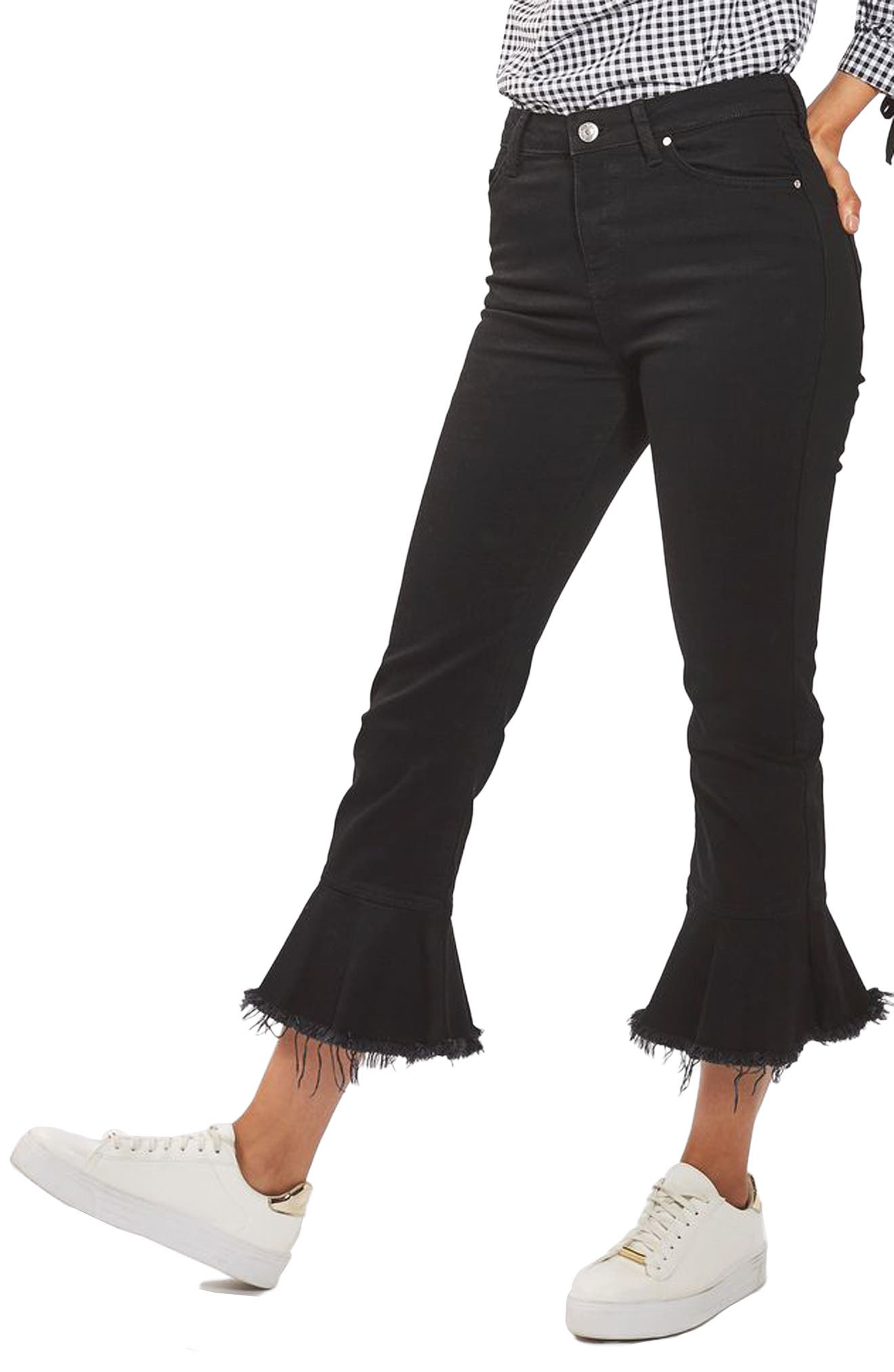 Alternate Image 1 Selected - Topshop Dree Raw Hem Crop Flare Jeans