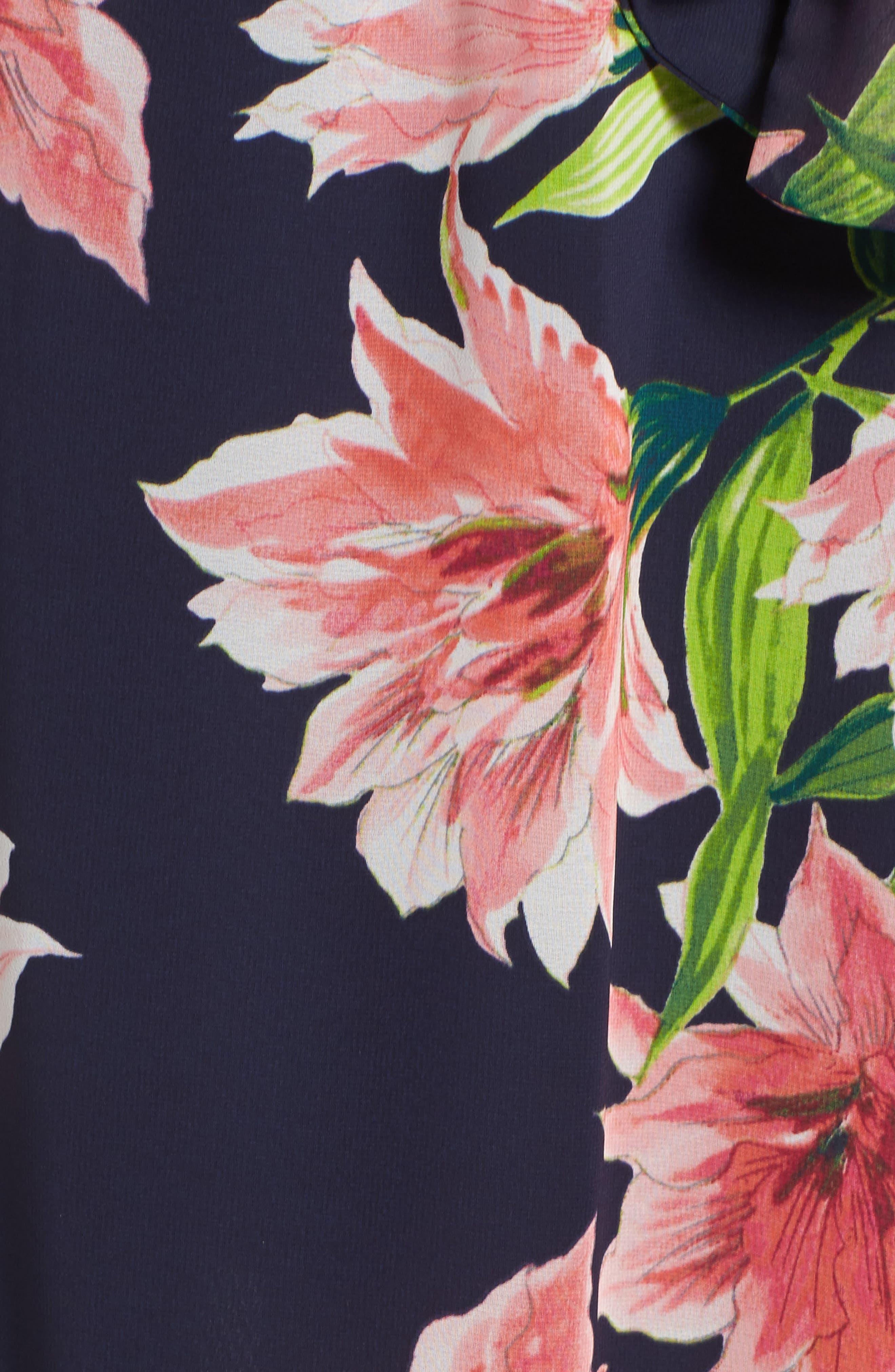 Floral Cold-Shoulder Maxi Dress,                             Alternate thumbnail 5, color,                             Navy