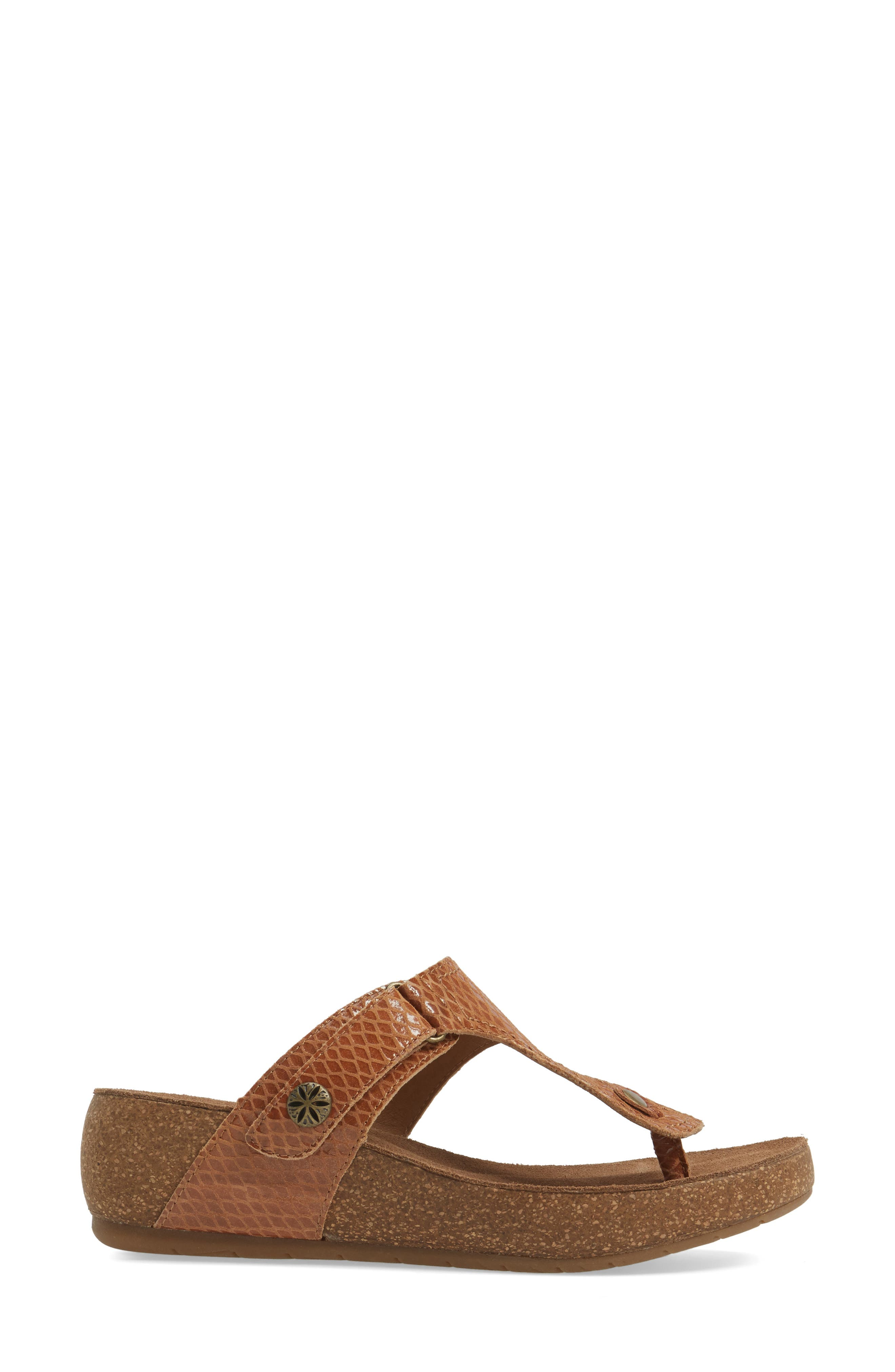 Shantel Flip Flop,                             Alternate thumbnail 3, color,                             Luggage Print Leather