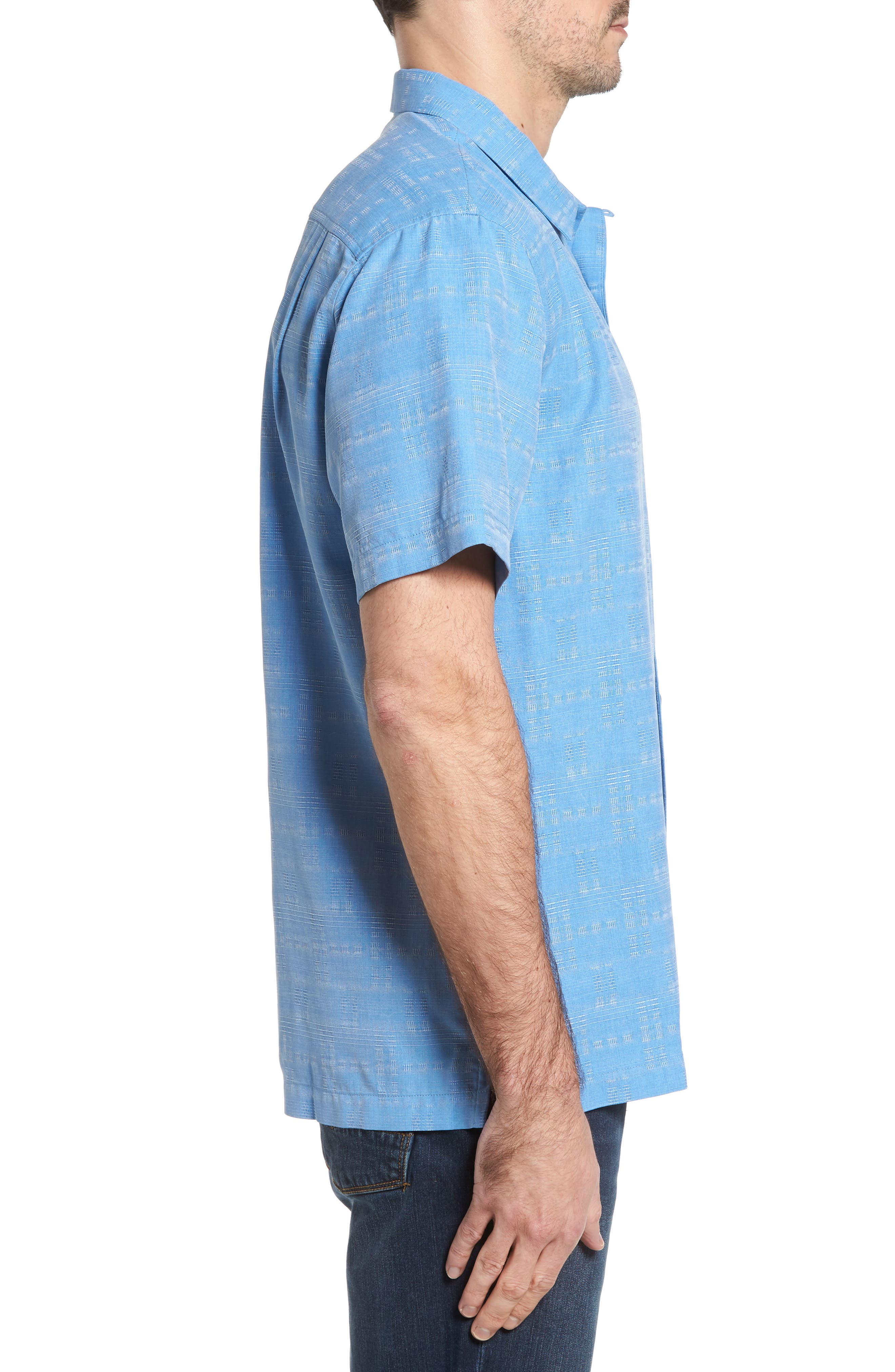 Alternate Image 3  - Tommy Bahama Original Fit Jacquard Silk Camp Shirt