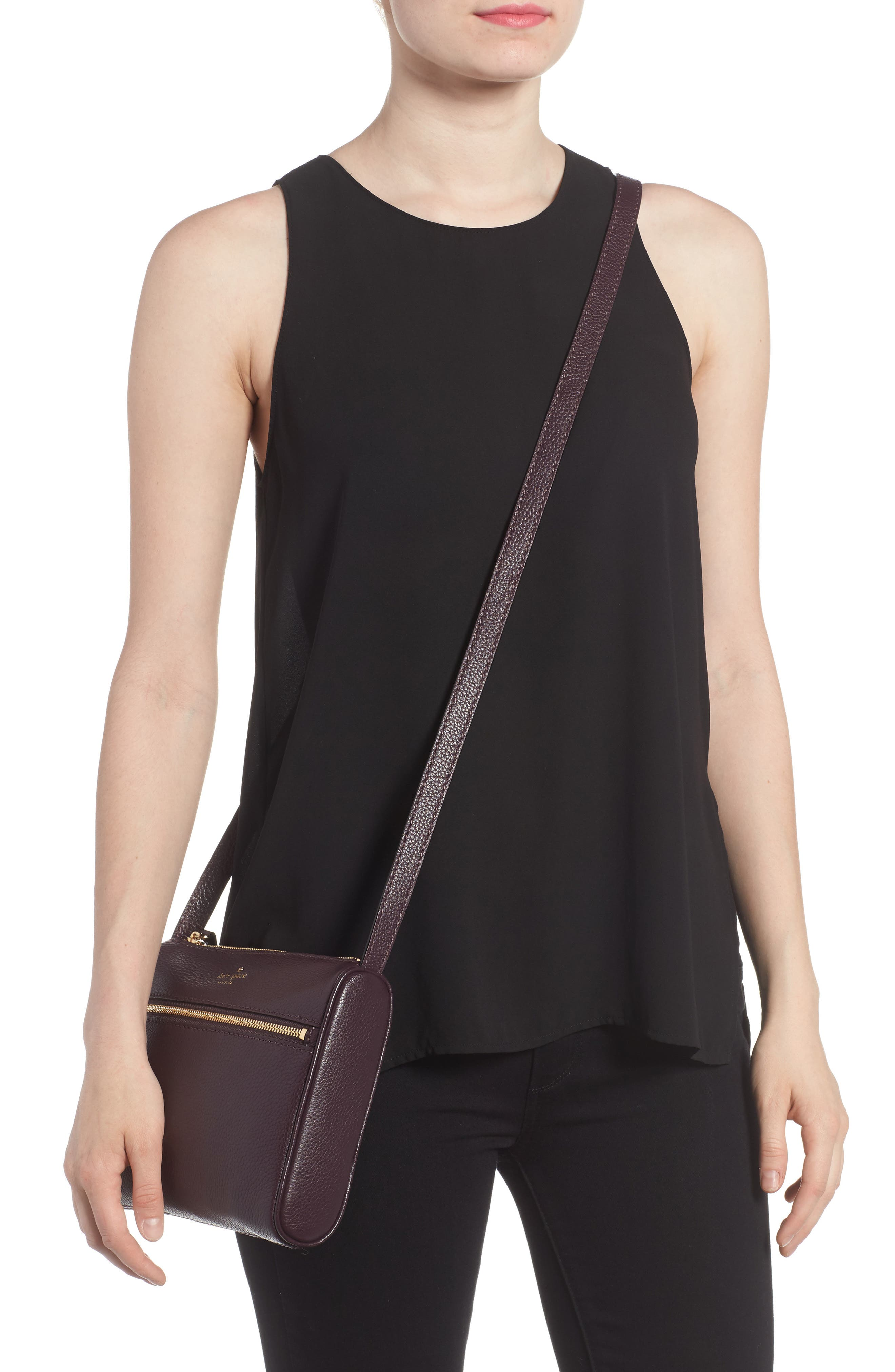 young lane - cayli leather crossbody bag,                             Alternate thumbnail 2, color,                             Dark Mahogany