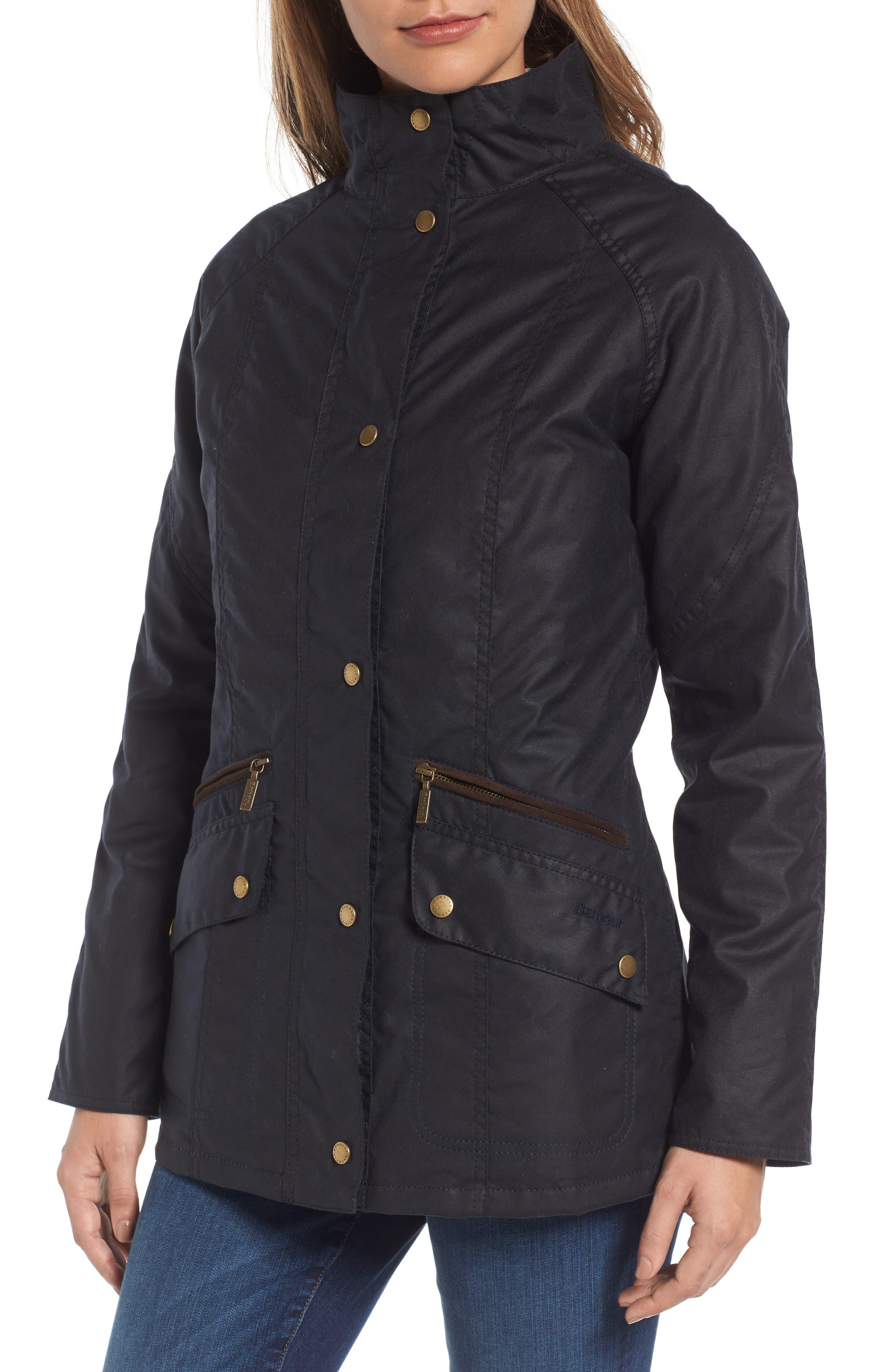 Barrowdale Waxed Cotton Coat,                             Alternate thumbnail 5, color,                             Navy